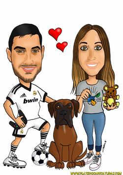 caricaturas_a_color_por_encargo_personalizadas_pareja_novios_real_madrid_perro_mascota_platerocarica