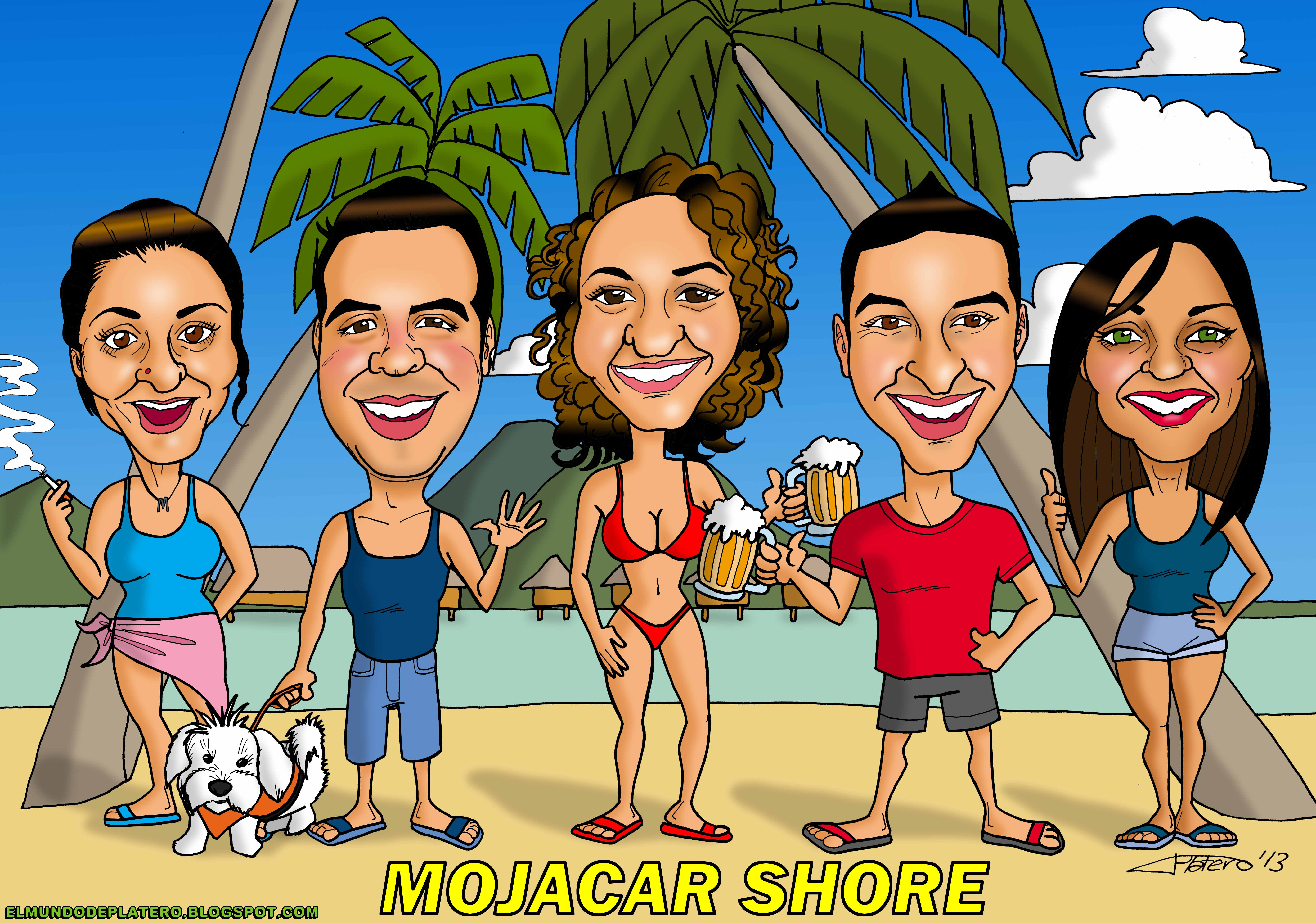 caricaturas a color por encargo personalizadas_amigos en la playa_elmundodeplate