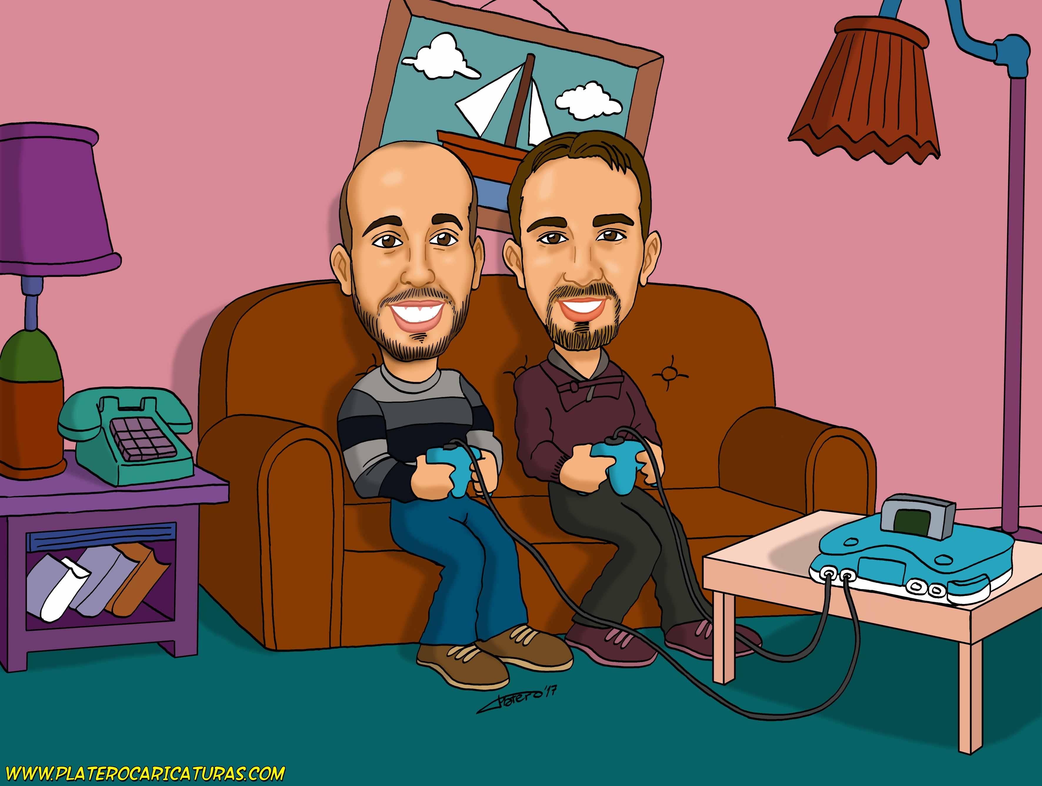 caricaturas_a_color_por_encargo_personalizadas_chicos_jugando_a_la_consola_platerocaricaturas_elmund