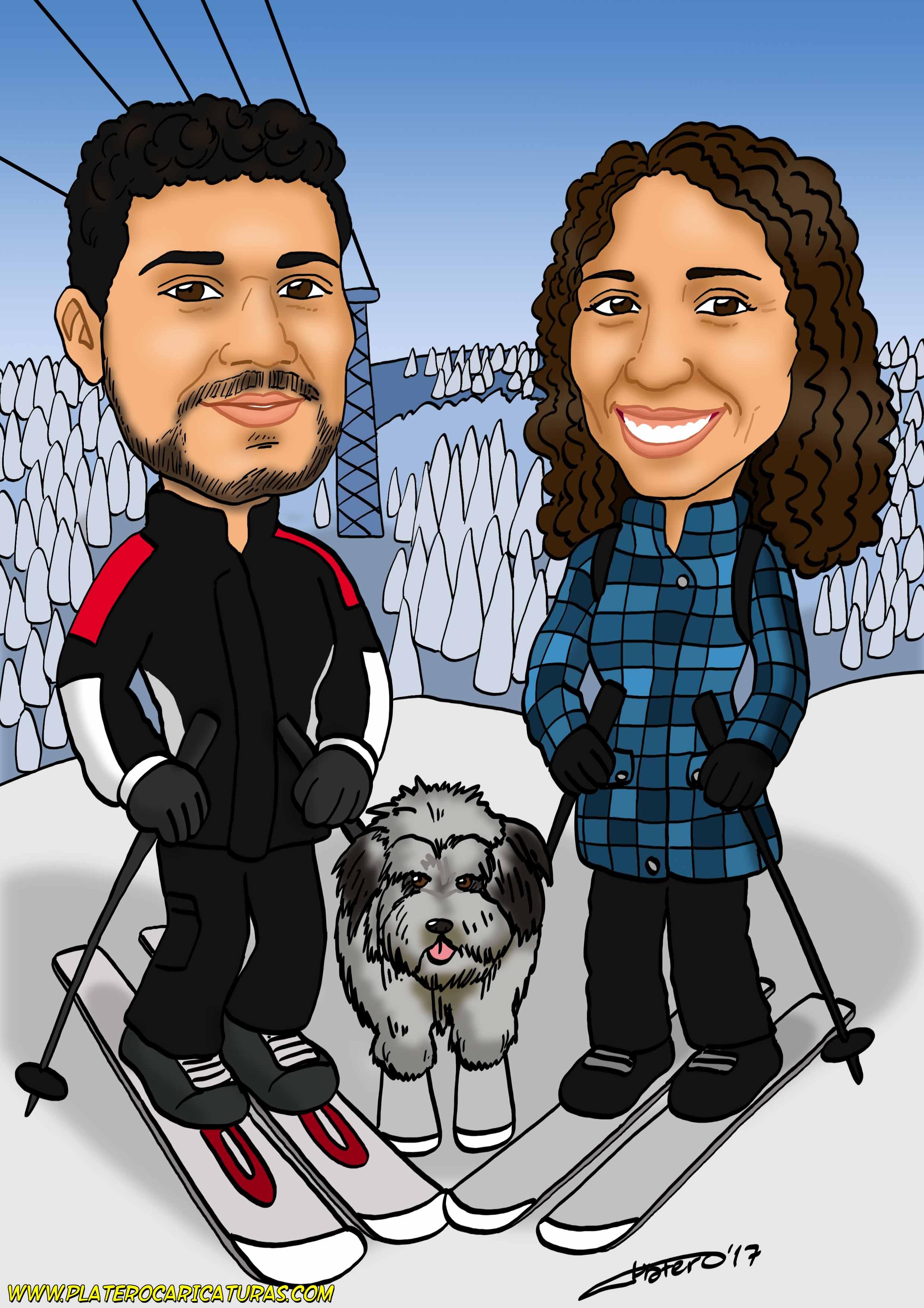 caricaturas_a_color_por_encargo_personalizadas_pareja_esquiando_con_perro_platerocaricaturas_elmundo