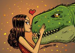 Chica con Dinosaurio