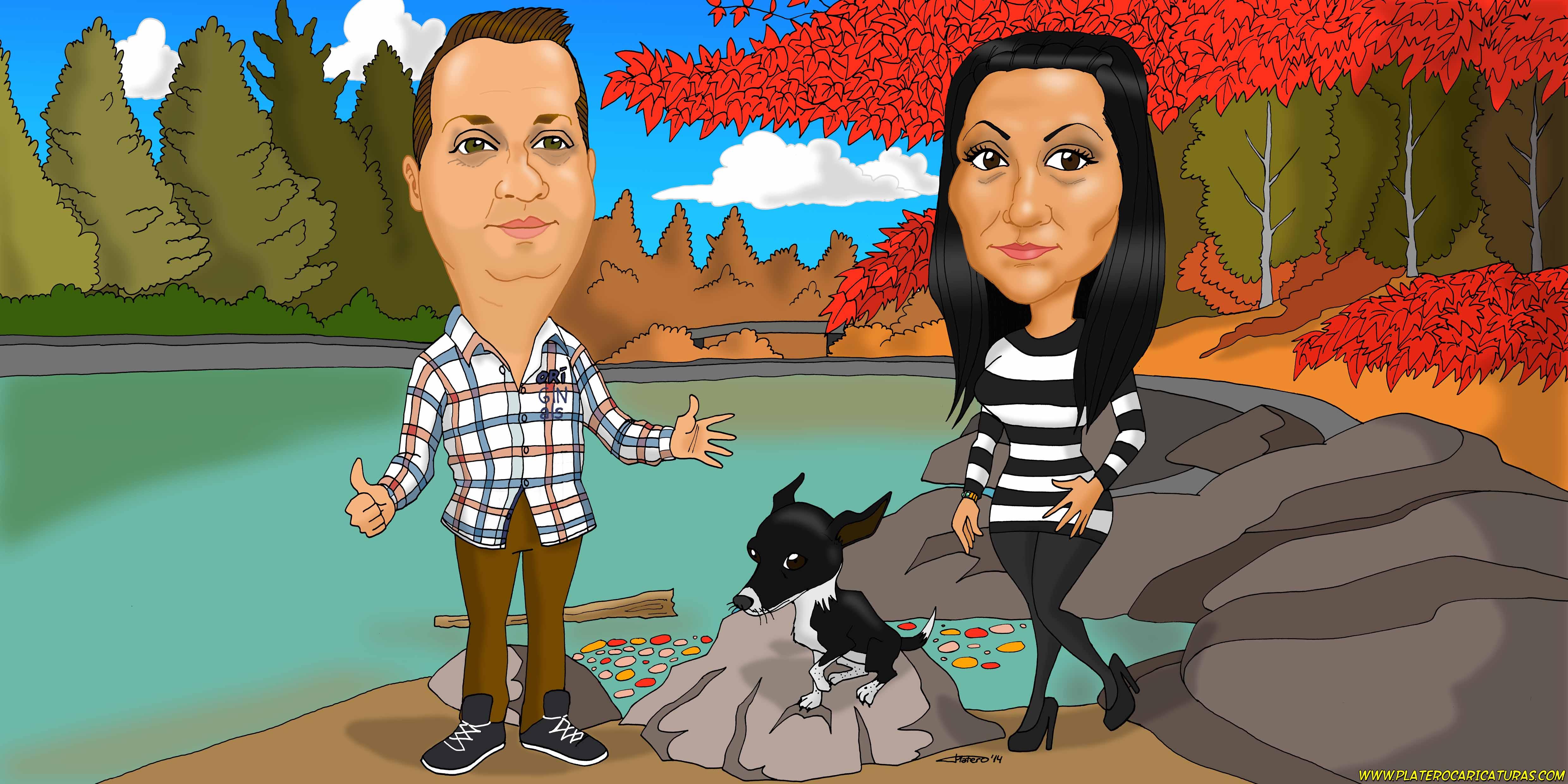 caricaturas a color por encargo personalizadas_pareja con paisaje_platerocaricat