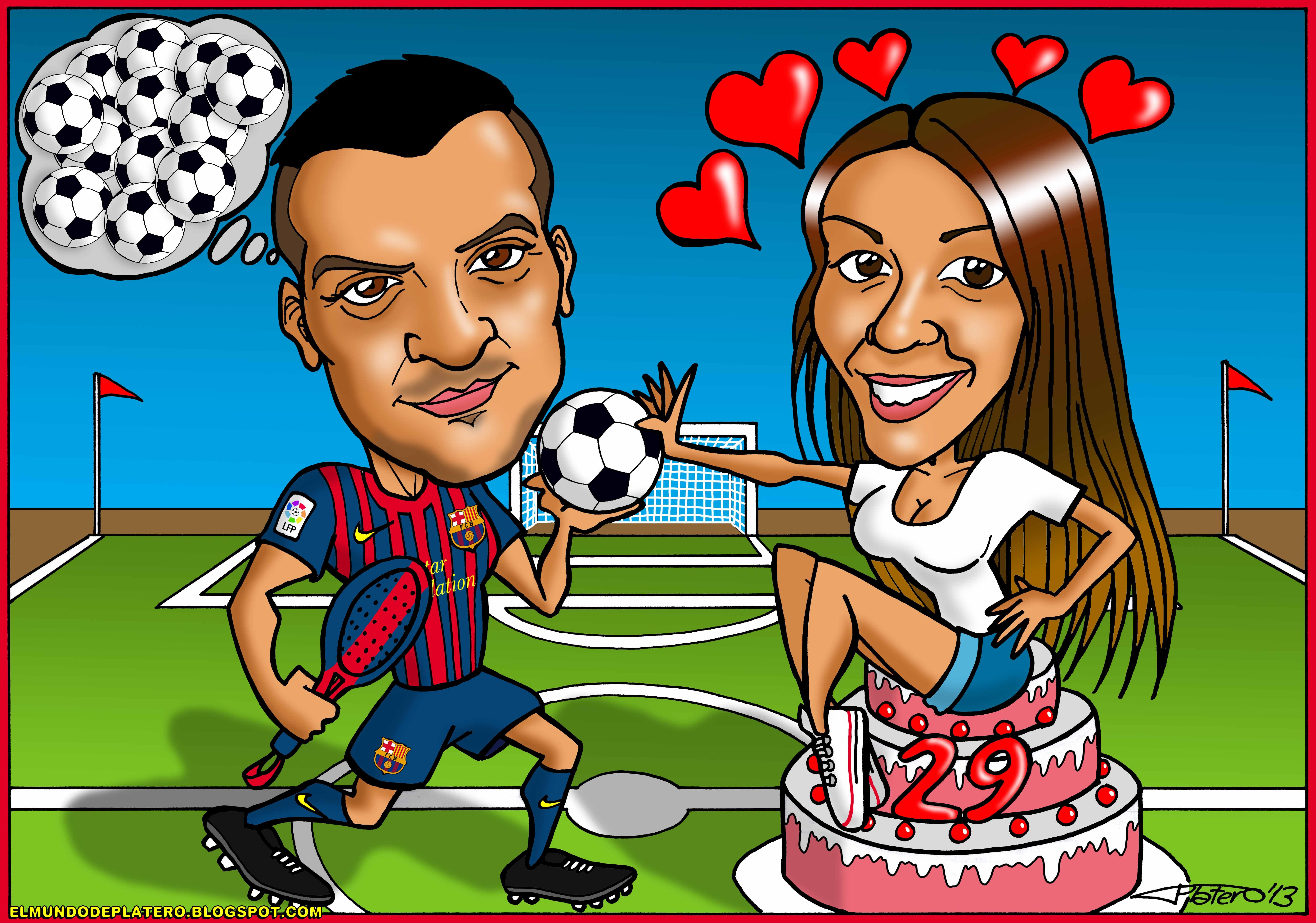caricaturas a color por encargo personalizadas_cumpleaños fútbol barça_elmundode
