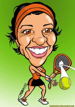 caricatura a color por encargo personalizada_mujer pádel_elmundodeplatero_plater