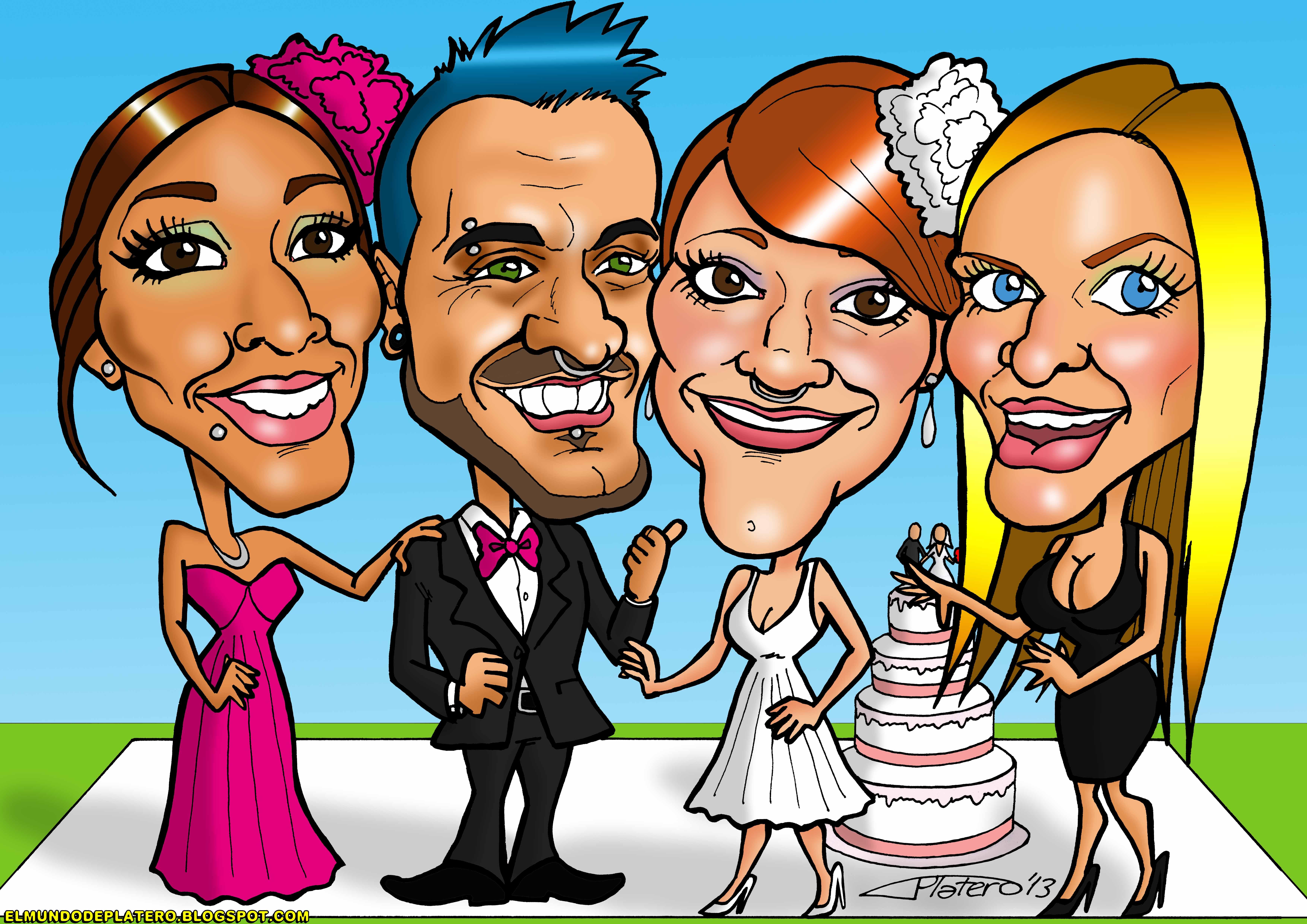 caricaturas a color personalizadas_amigos y novia_elmundodeplatero_josé luis pla