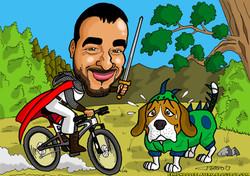 caricaturas a color personalizadas_sant jordi_beagle_elmundodeplatero_josé luis