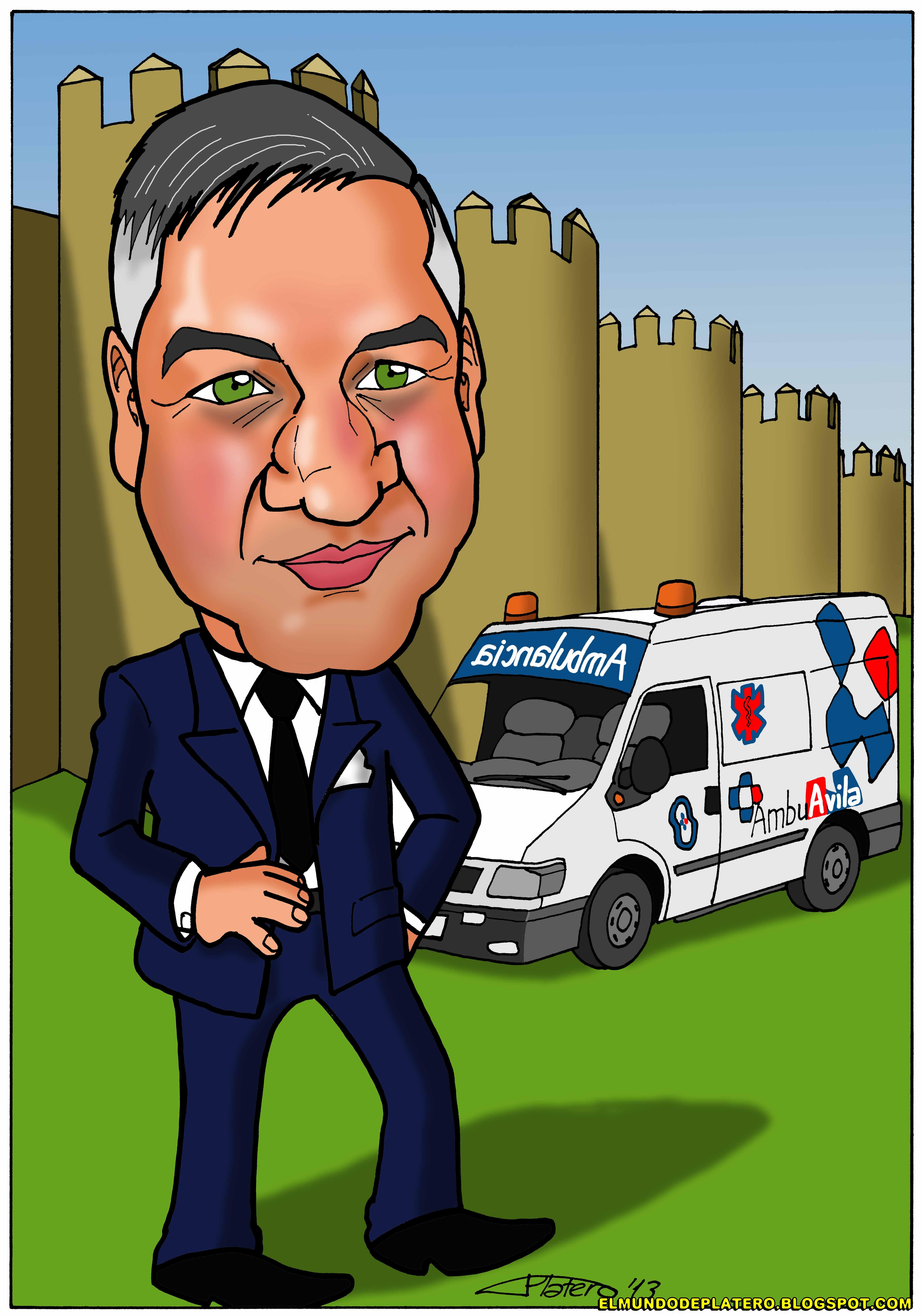 caricatura a color personalizada por encargo_hombre y ambulancia_elmundodeplater
