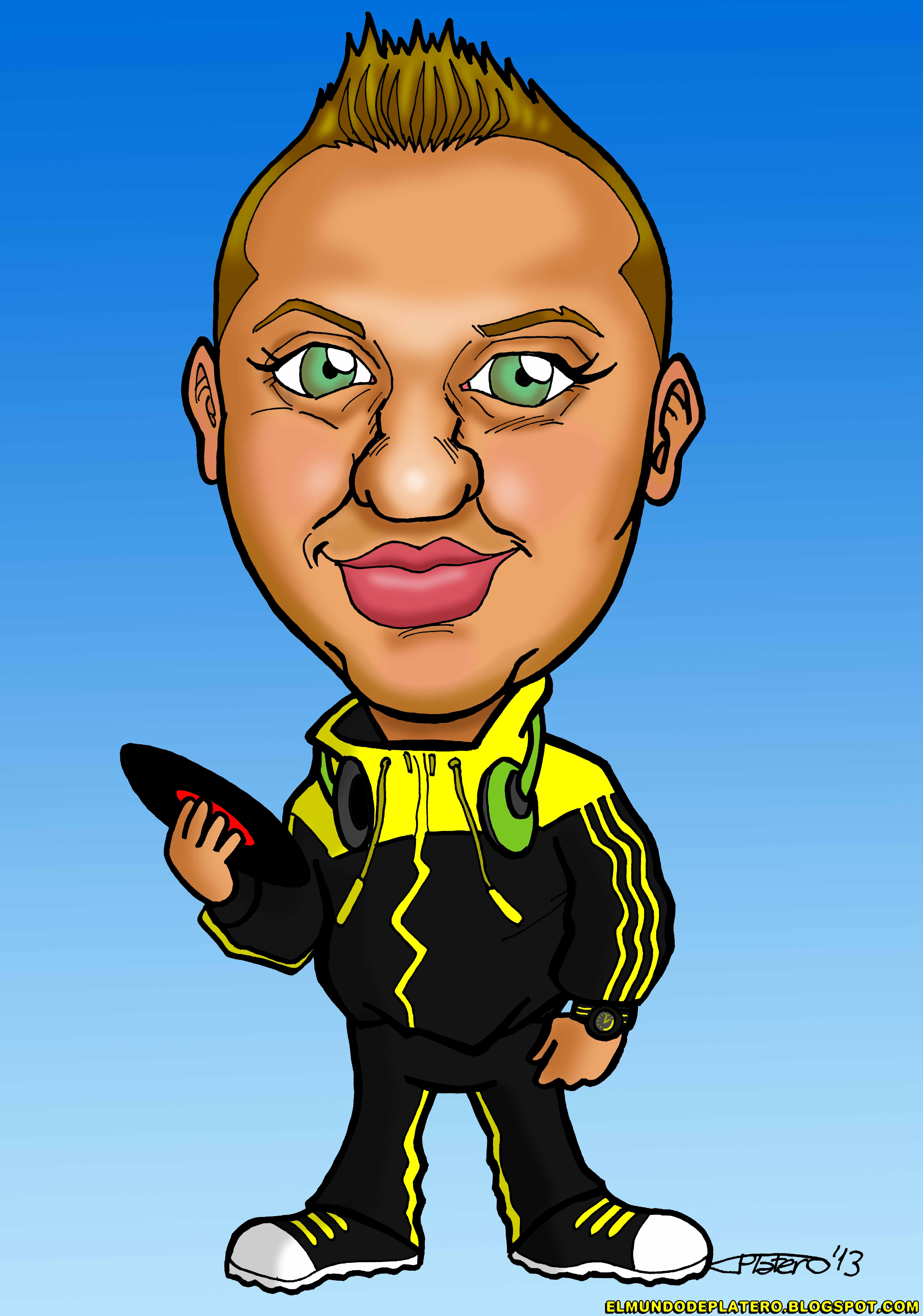 caricatura a color por encargo personalizada_chico dj_ elmundodeplatero_josé lui