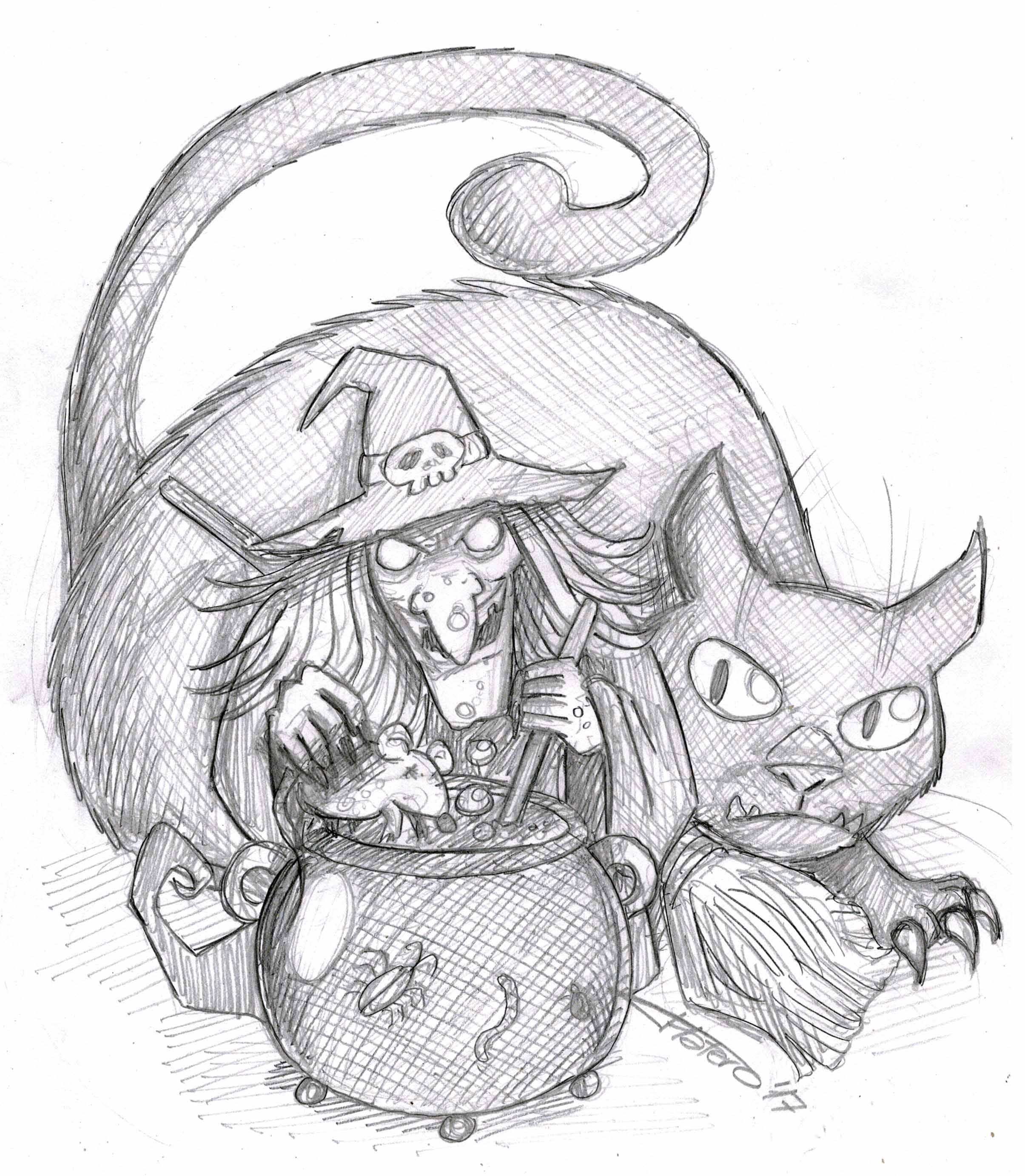 Bruja con gatito