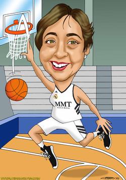 caricaturas a color por encargo personalizadas_mujer baloncesto_platerocaricatur