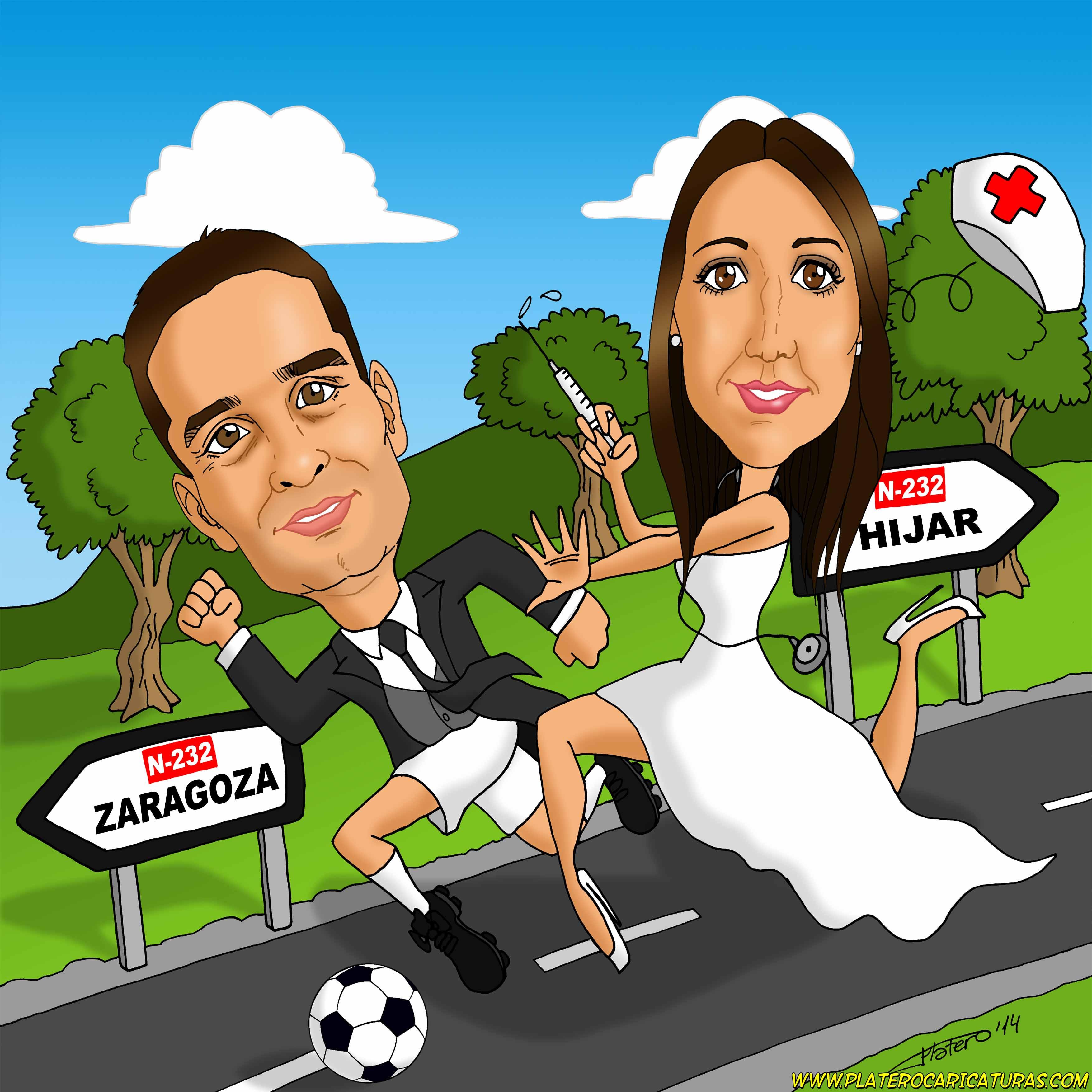 caricaturas_a_color_por_encargo_personalizadas_pareja_de_novios_corriendo_plater
