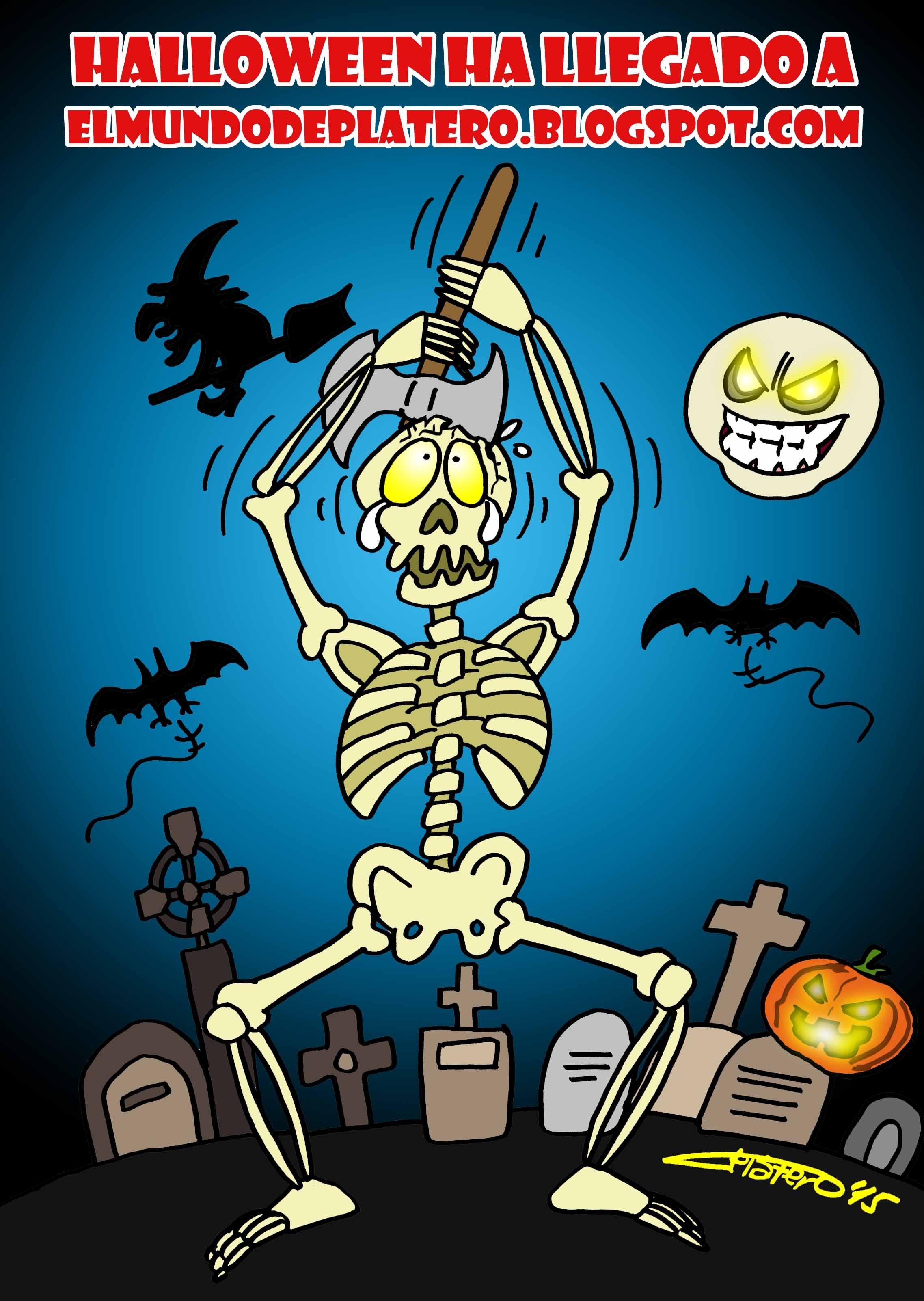HALLOWEEN_2015_esqueleto_elmundodeplatero_josé_luis_platero_caricaturas_cómics_dibujos_humor