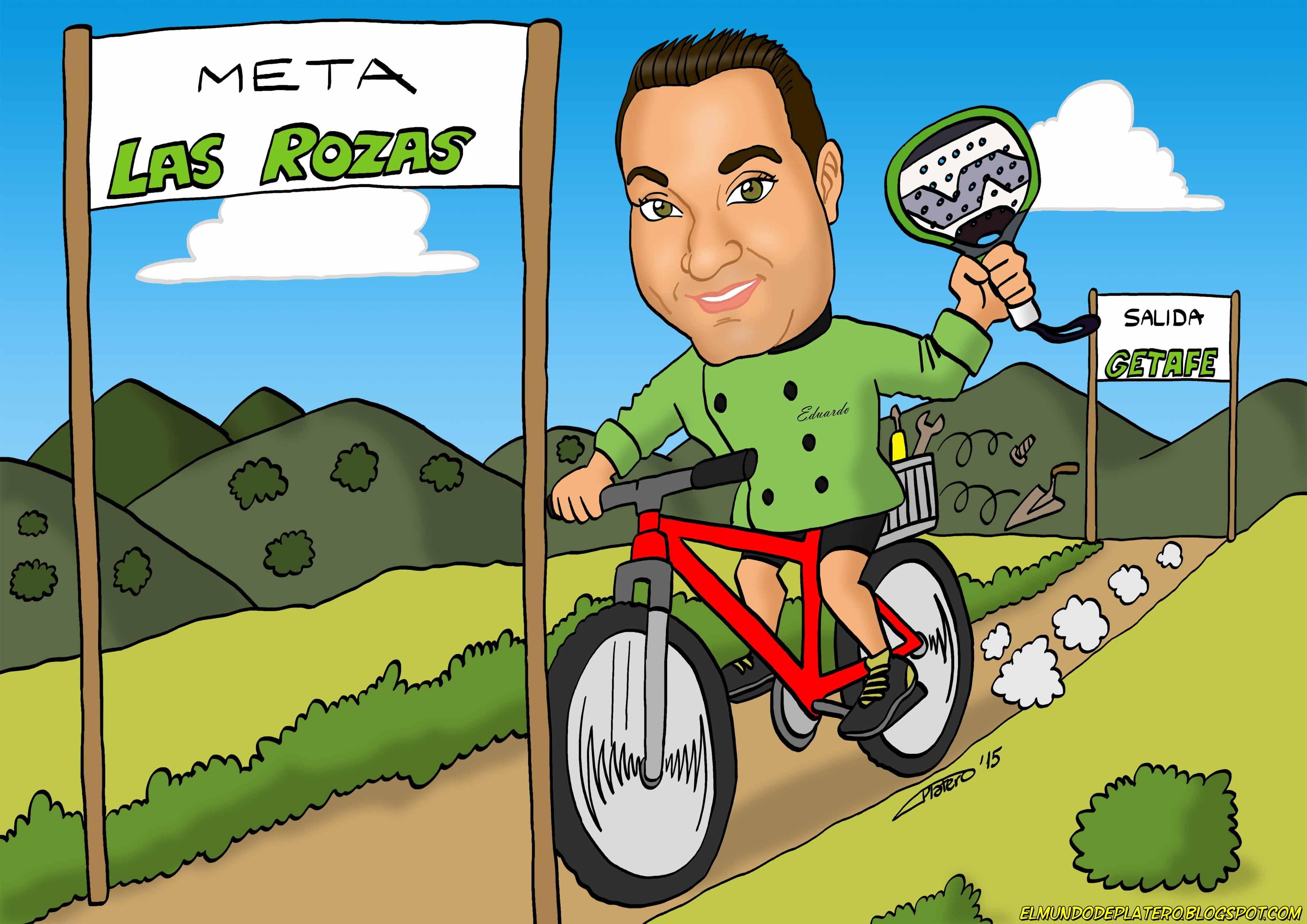 caricaturas_a_color_por_encargo_personalizadas_cocinero_en_bici_elmundodeplatero