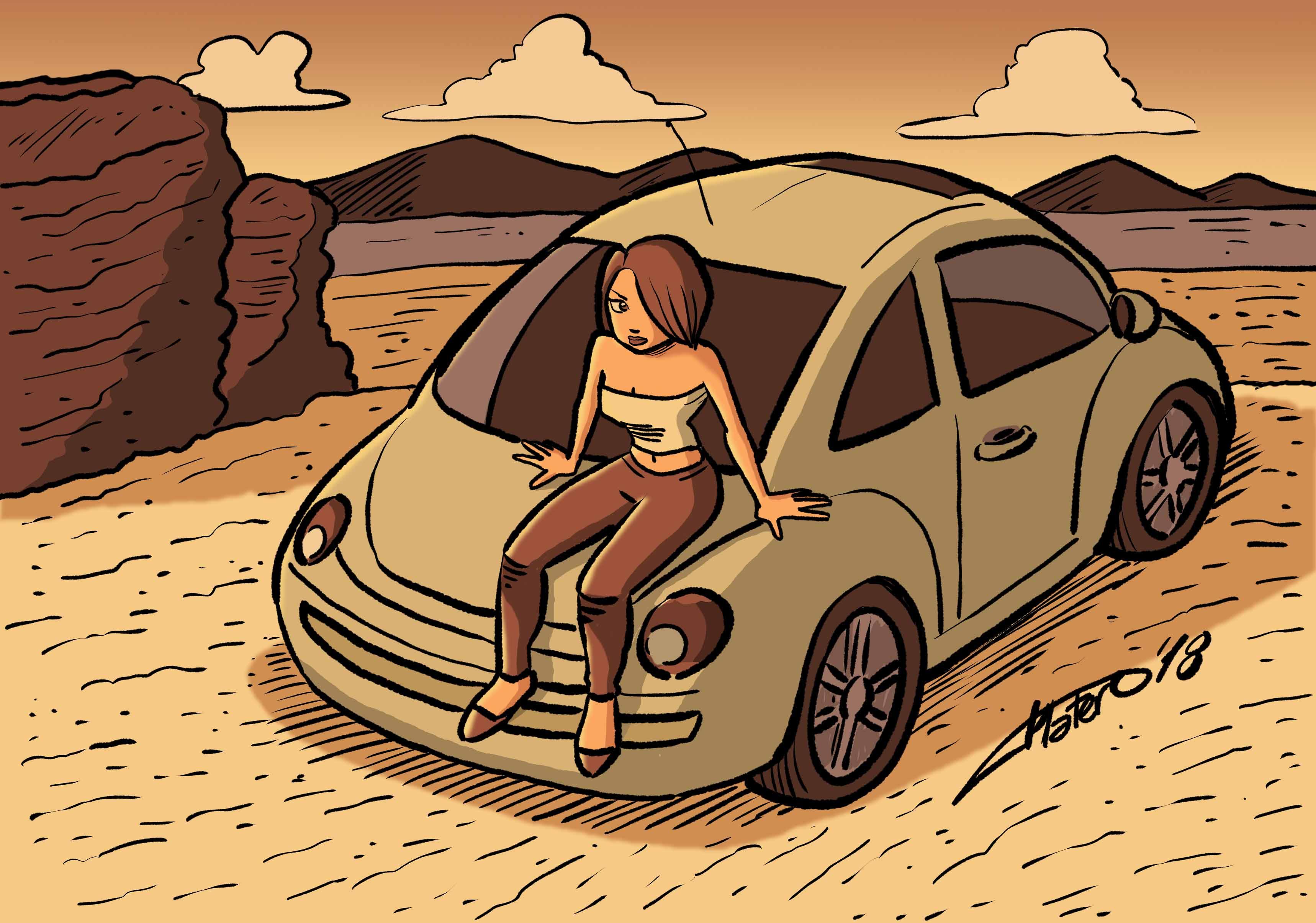 chica en coche_platerocaricaturas