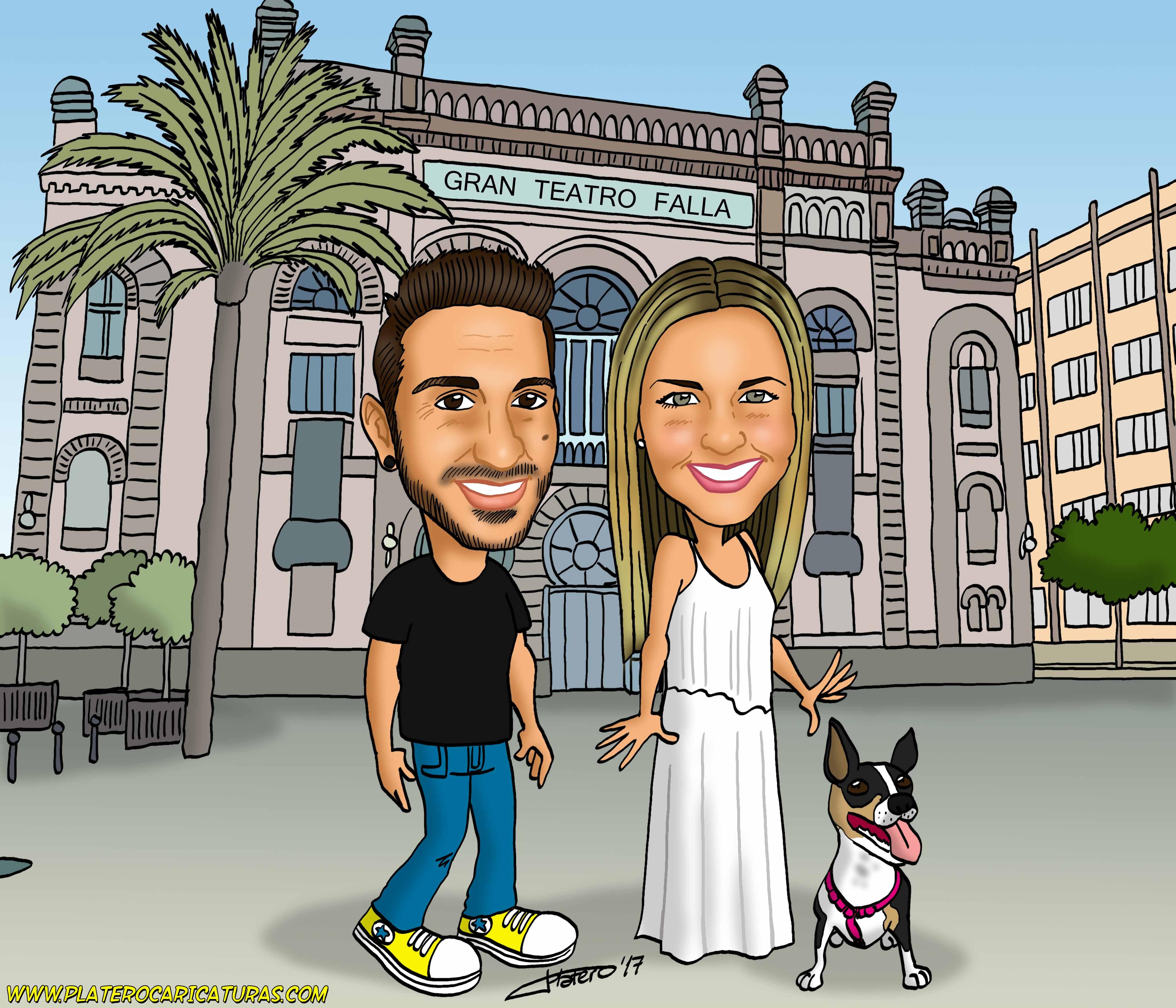 caricaturas_a_color_por_encargo_personalizadas_pareja_con_perro_teatro_cadiz_platerocaricaturas_elmu