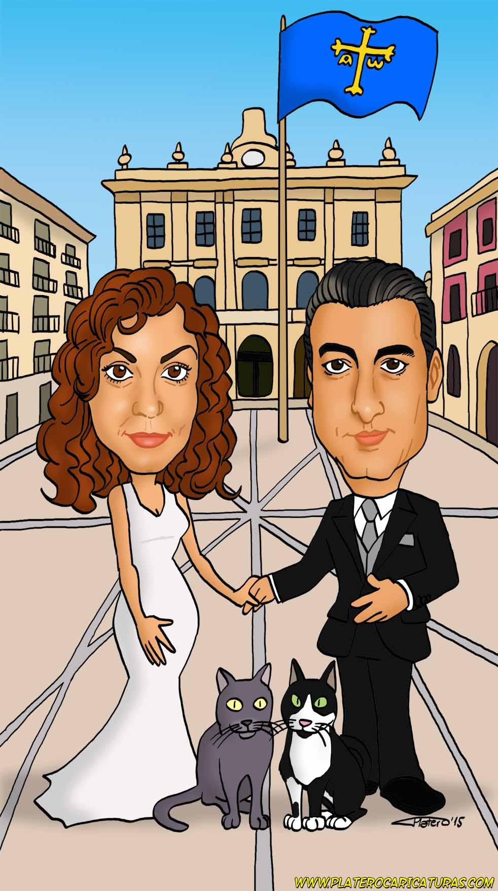 web_caricaturas_a_color_por_encargo_personalizadas_boda_Gijón_platerocaricaturas