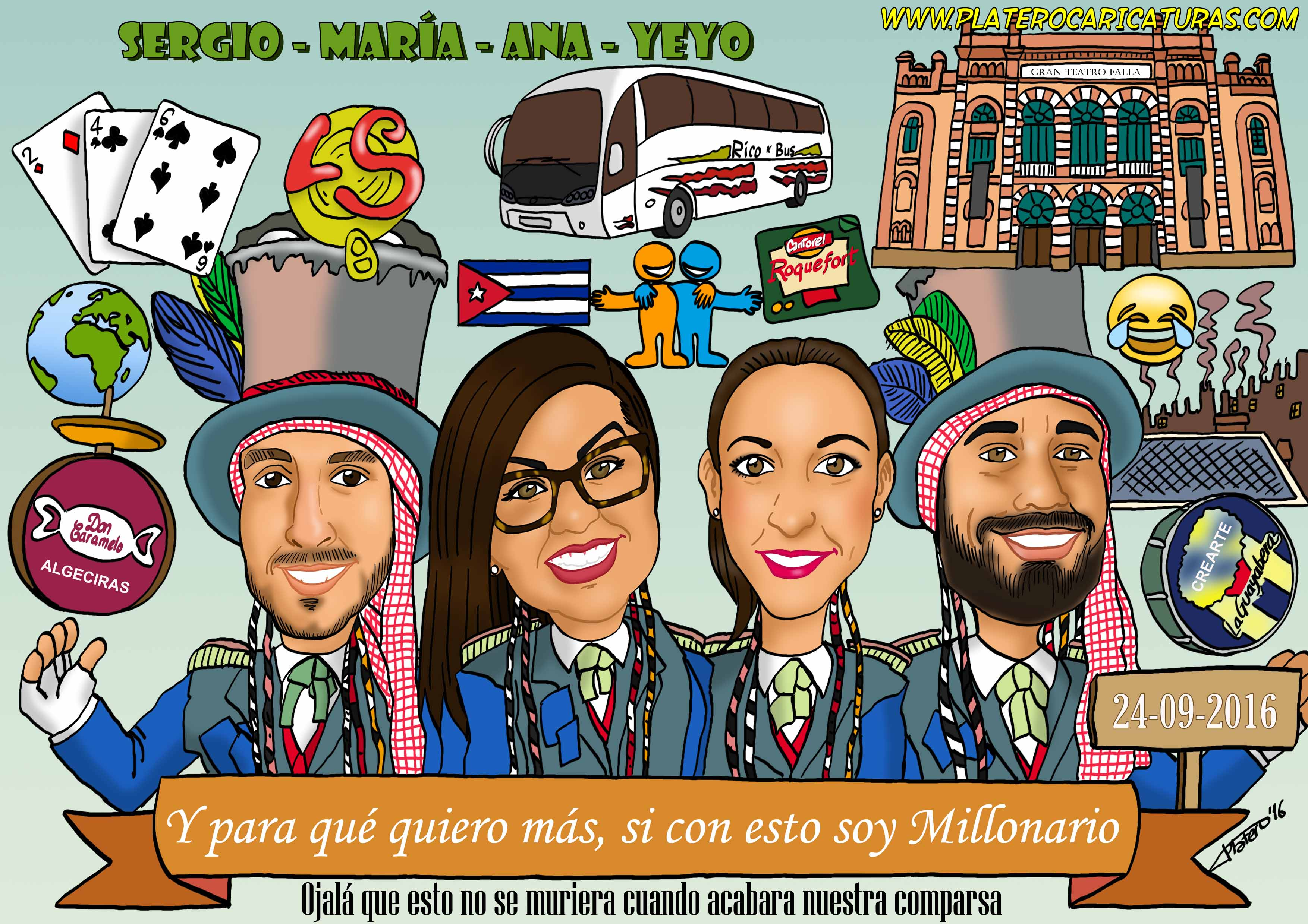caricaturas_4 chicos carnaval_platerocaricaturas