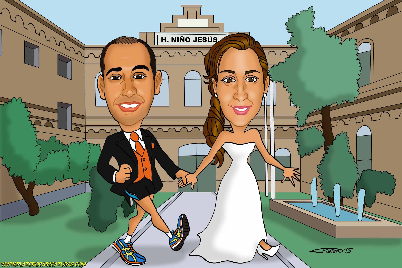 caricaturas_a_color_por_encargo_personalizadas_pareja_novios_boda_hospital_elmun