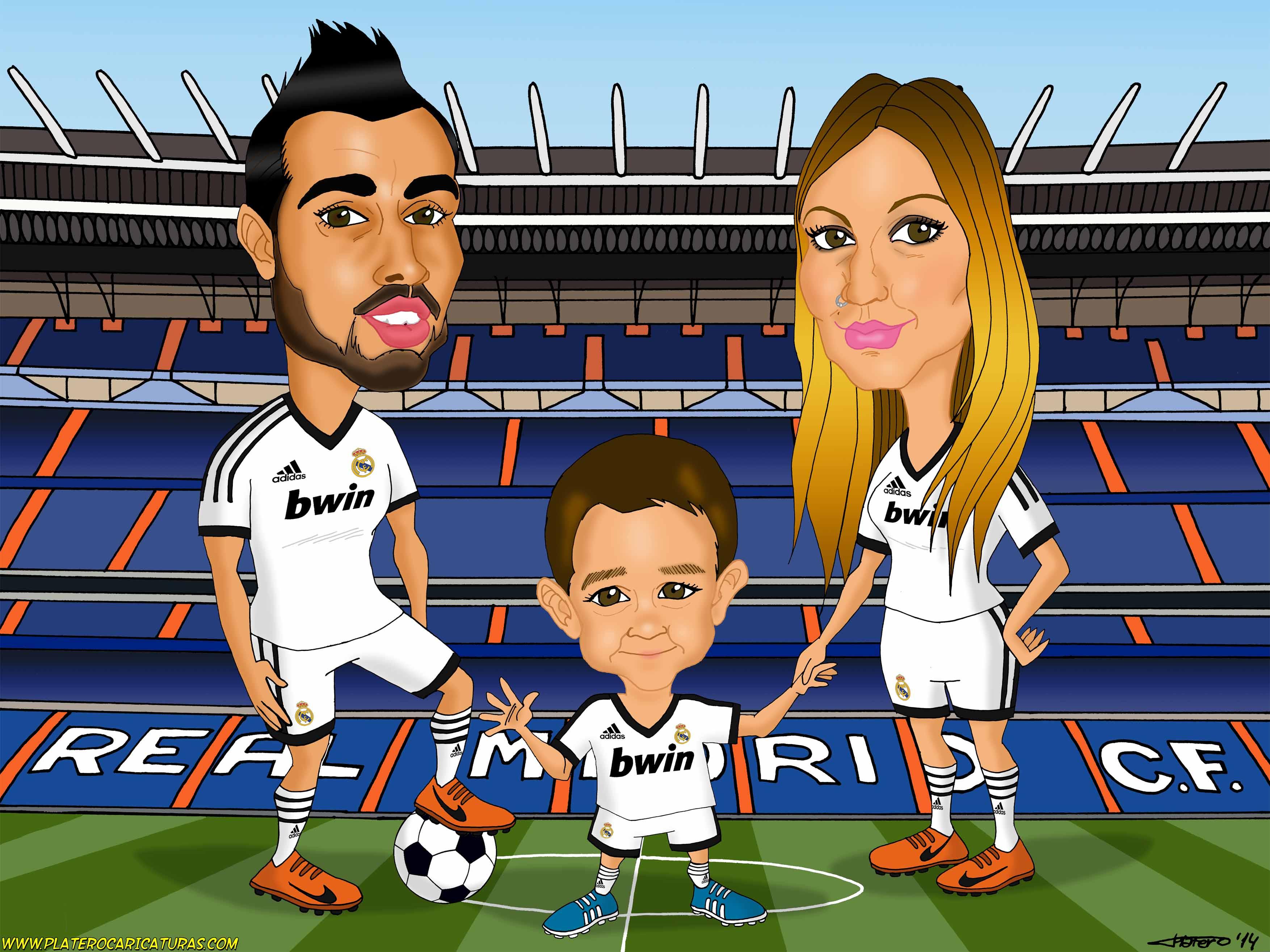 caricaturas a color por encargo personalizadas_futbolistas real madrid_plateroca
