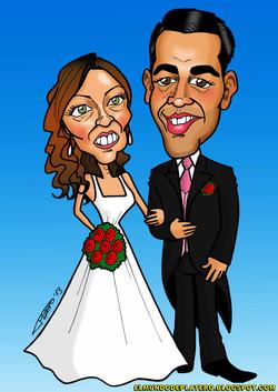 caricaturas a color personalizadas_novios_invitación boda_elmundodeplatero_josé