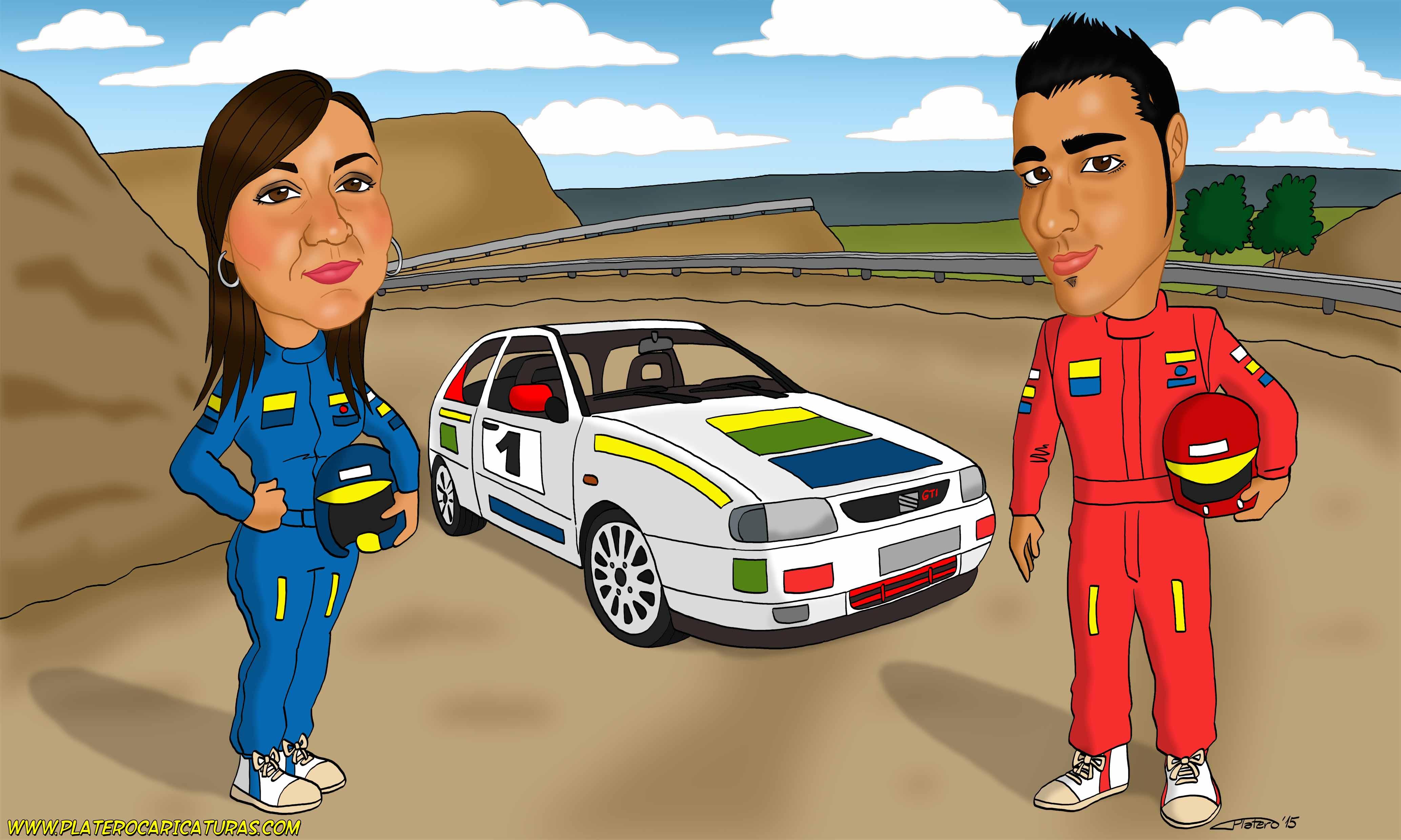 caricatura_a_color_por_encargo_personalizada_pareja_con_coche_de_rally_elmundode