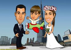 caricaturas_FAMILIA EN DUBAI_platerocaricaturas