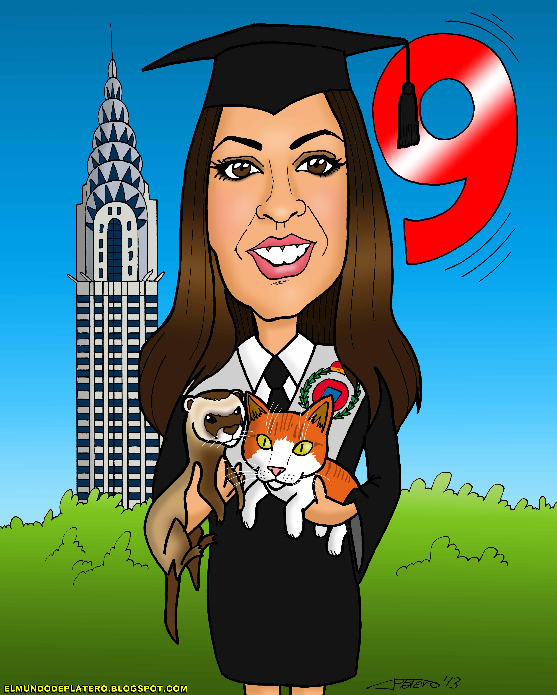 caricaturas a color por encargo_chica graduada con hurón y gato_elmundodeplatero