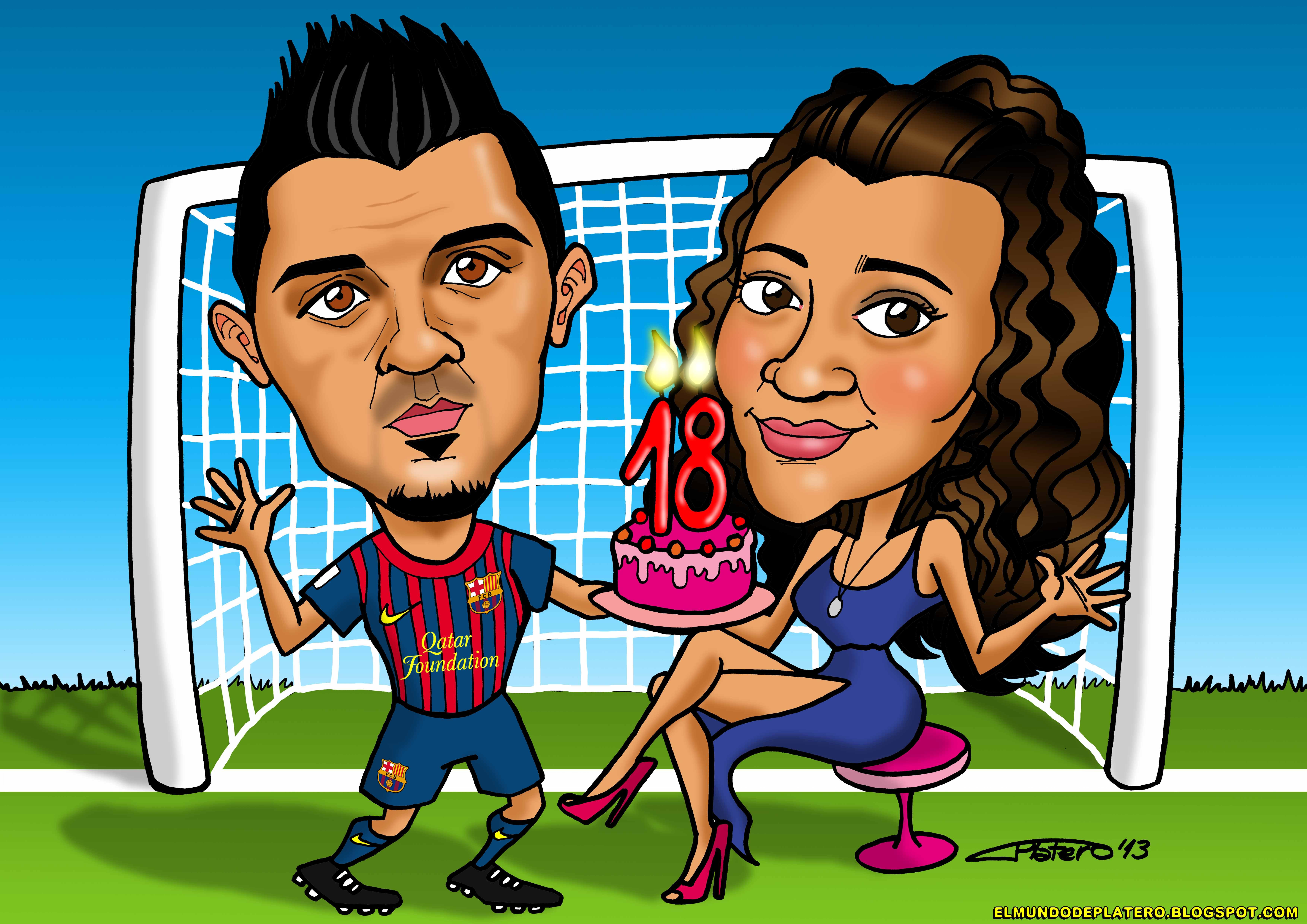 caricaturas a color por encargo personalizadas_cumpleaños david villa_elmundodep