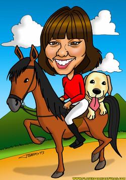 01 caricaturas a color por encargo personalizadas_chica en caballo_platerocarica