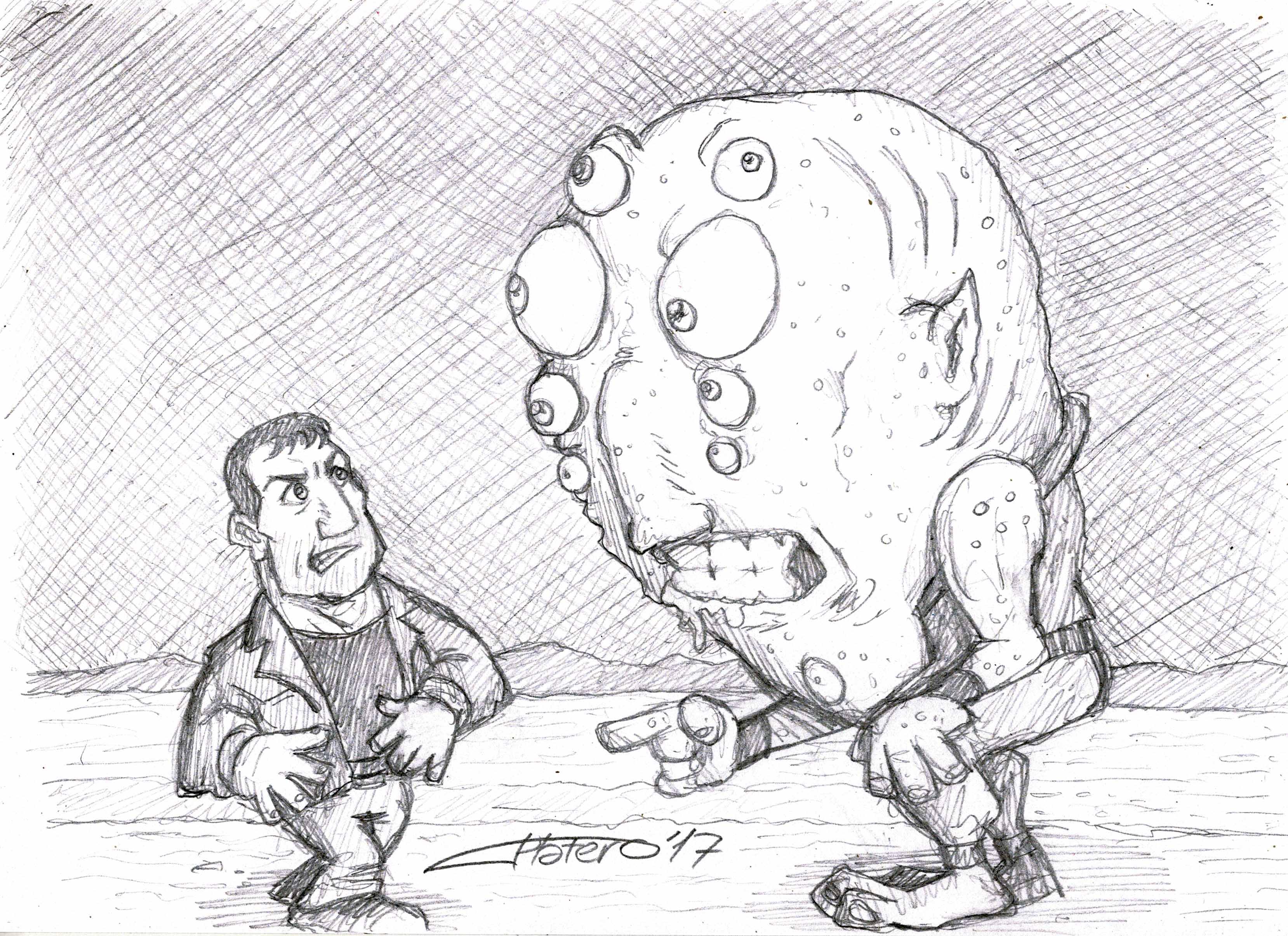 Hombre y extraterrestre