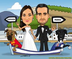 caricaturas_boceto_pareja con perros en barca_platerocaricaturas