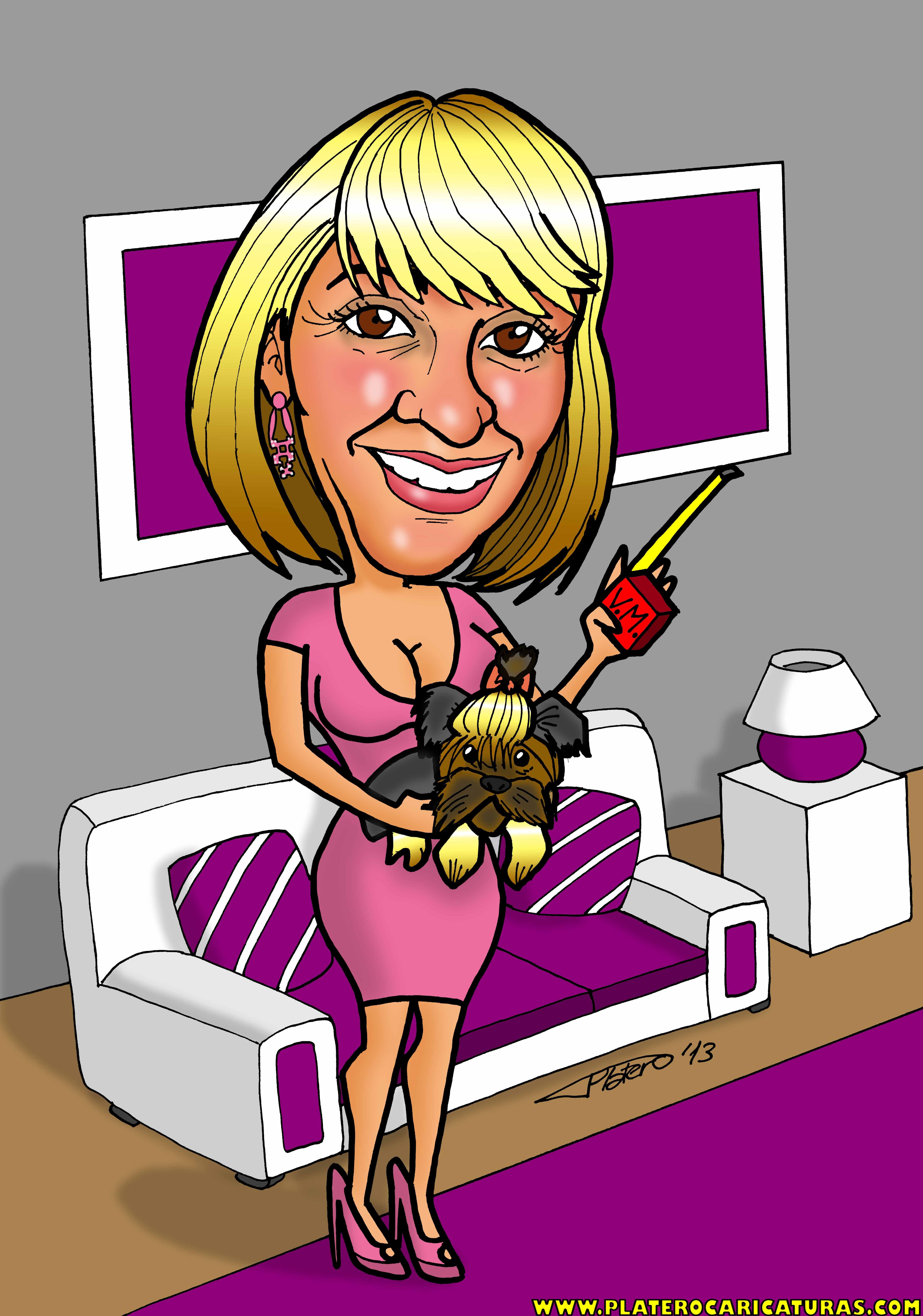 caricaturas a color por encargo personalizadas_mujer vendedora_platerocaricatura
