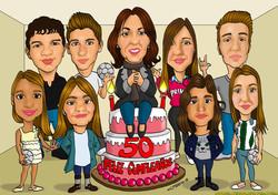caricaturas_a_color_por_encargo_personalizadas_felicitación_familia_cumpleaños_e