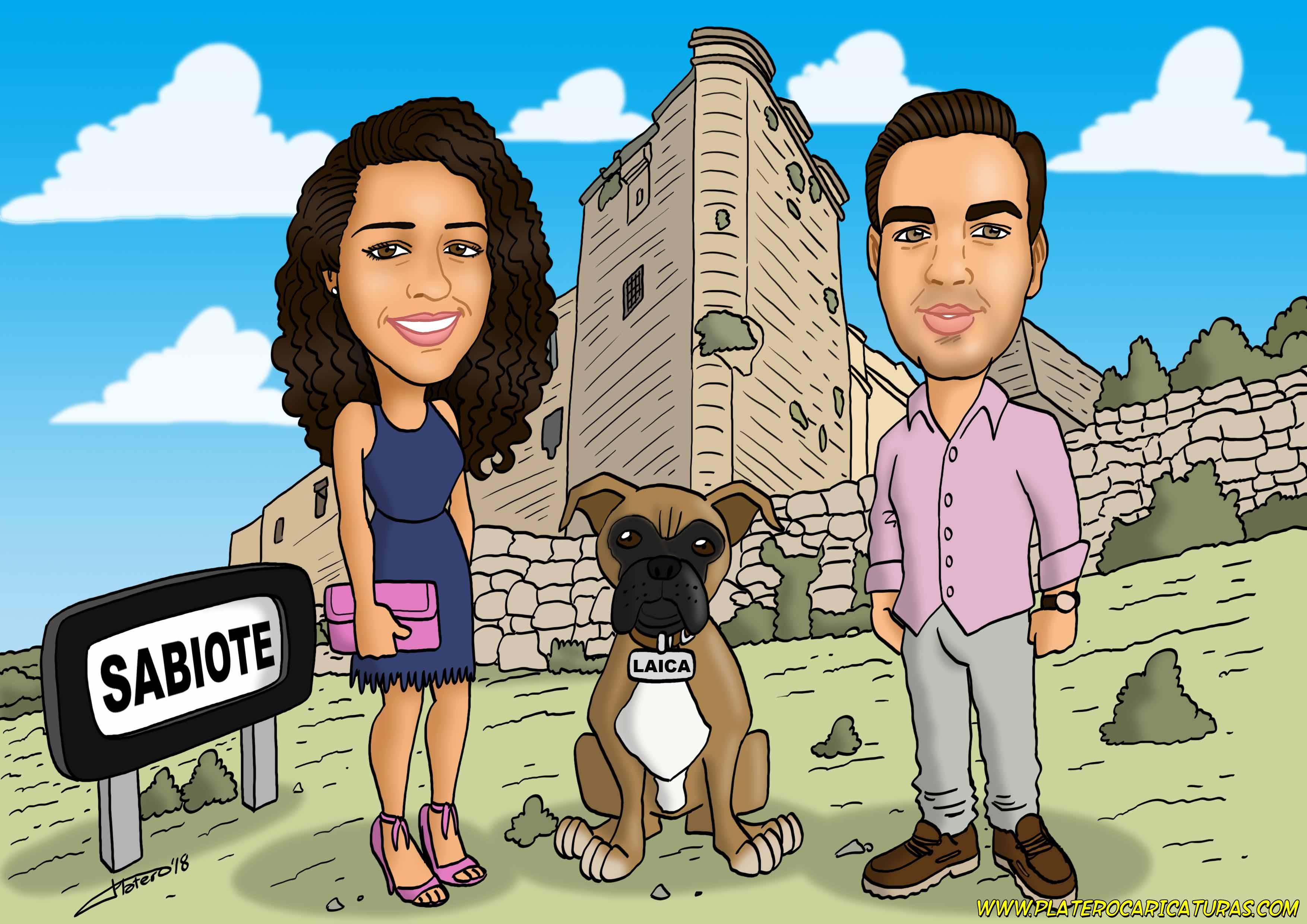 caricaturas_por_encargo_pareja con perro_platerocaricaturas