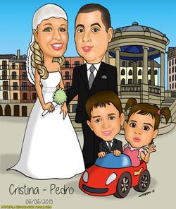 caricaturas_a_color_por_encargo_personalizadas_boda_en_pamplona_platerocaricatur