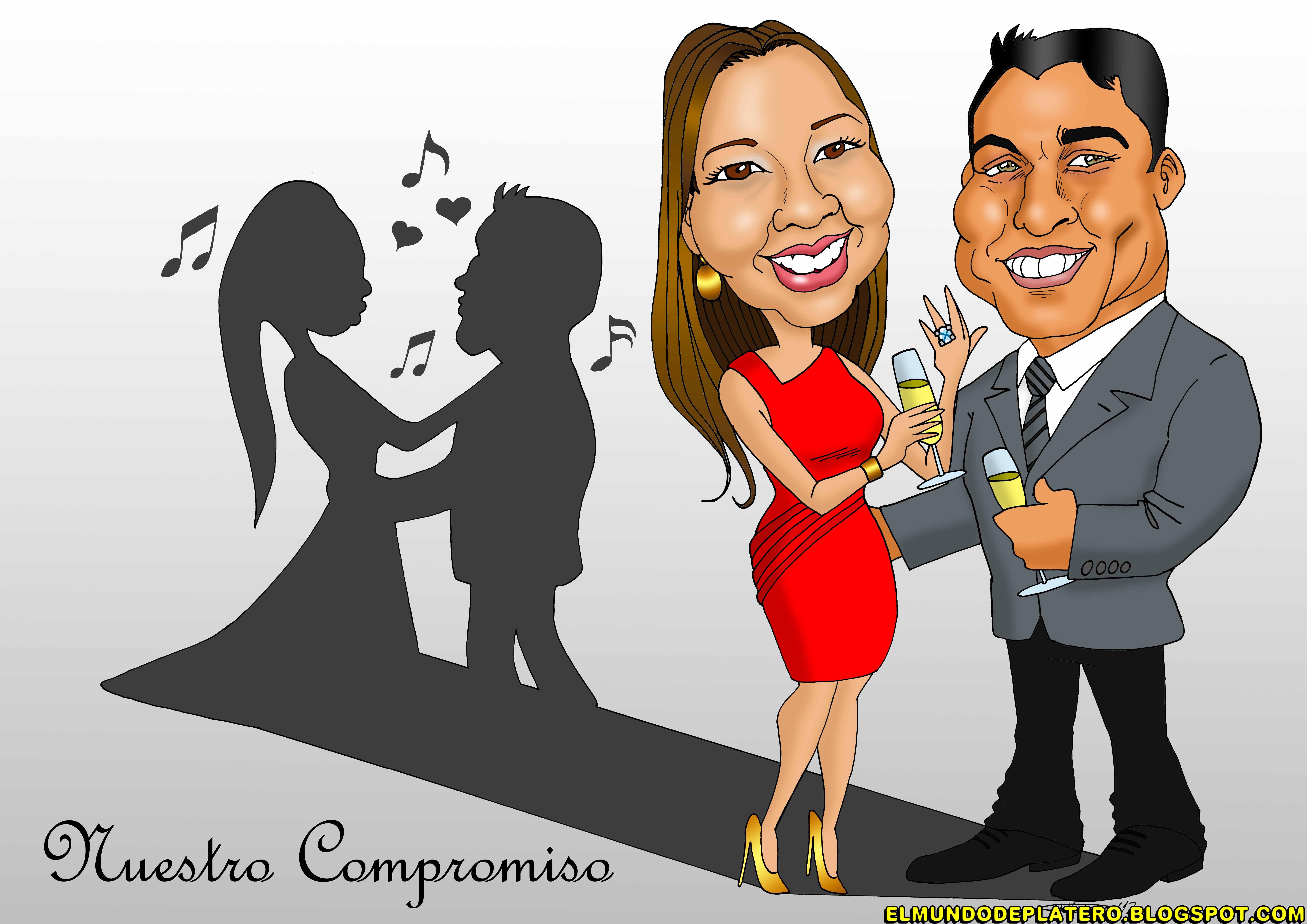 caricaturas a color por encargo personalizadas_compromiso boda_platerocaricatura