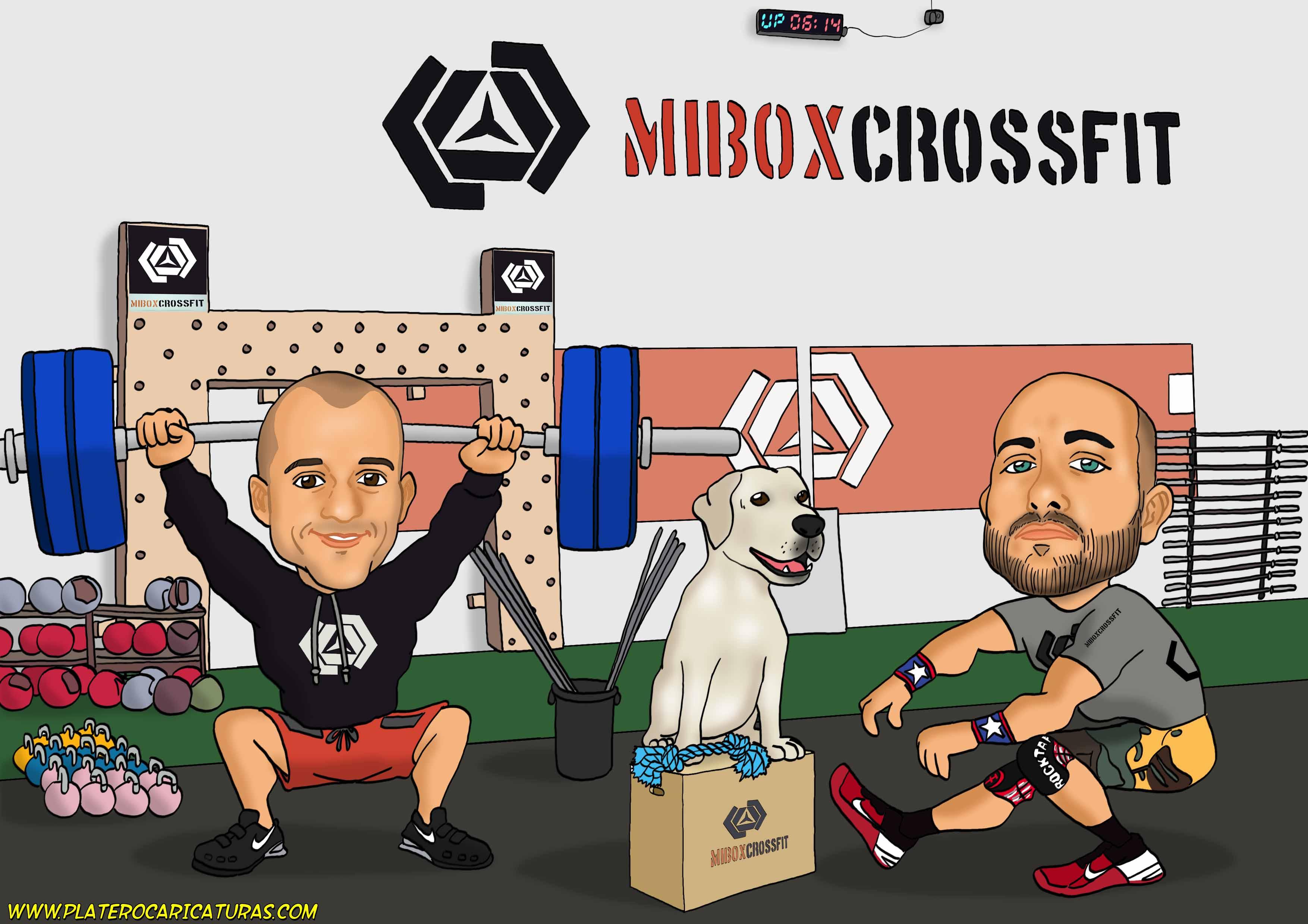 caricaturas a color por encargo_chicos gimnasio con perro_platerocaricaturas_jose luis platero