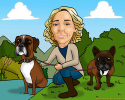 caricaturas_a_color_por_encargo_personalizadas_mujer_con_perros_boxer_bulldog_francés_platerocaricat