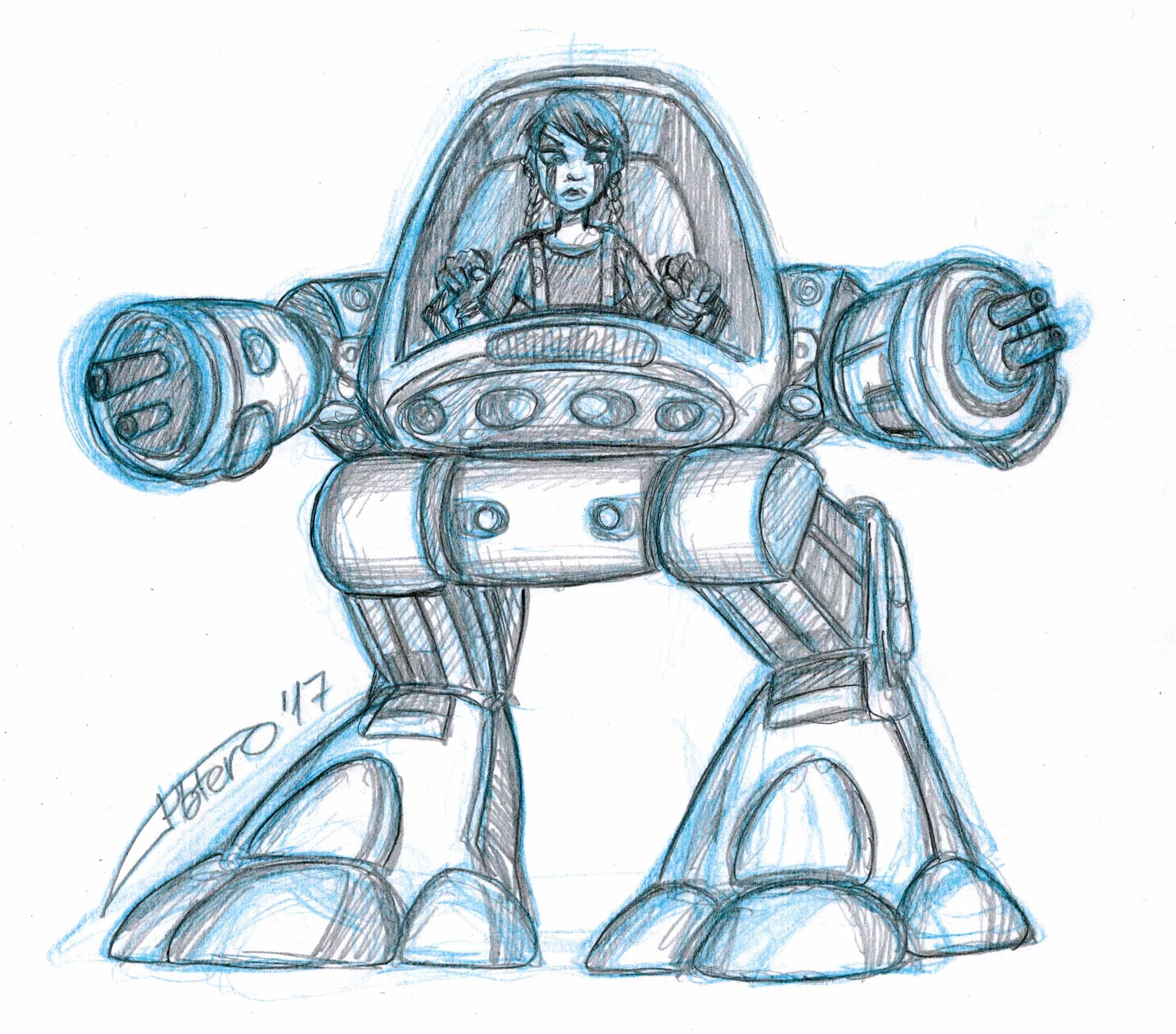 Chica ciberpunk en robot
