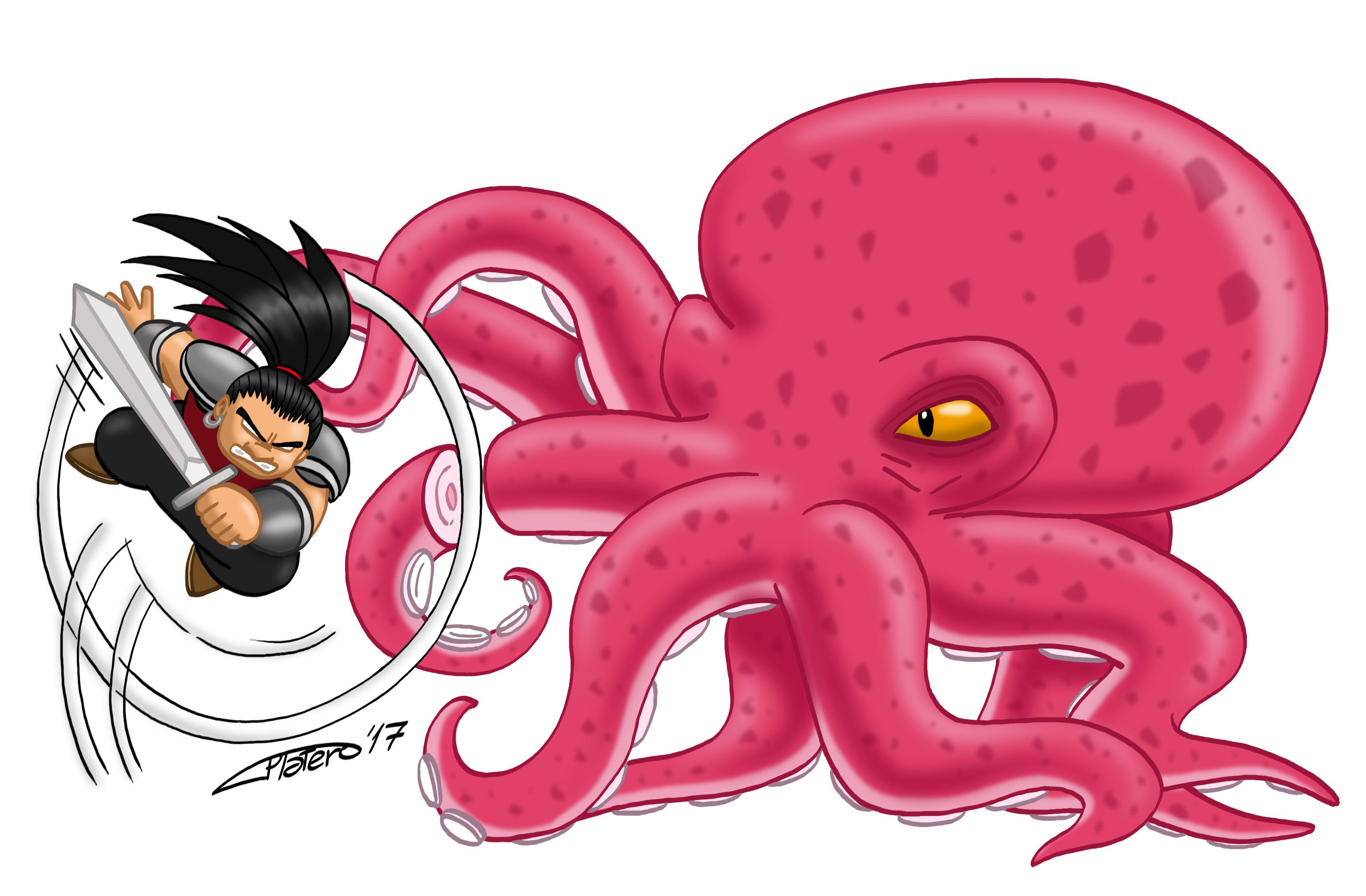 samurai_pulpo_monstruo_dibujo_comic_boceto_jose_luis_platero_fantasia_ilustracion