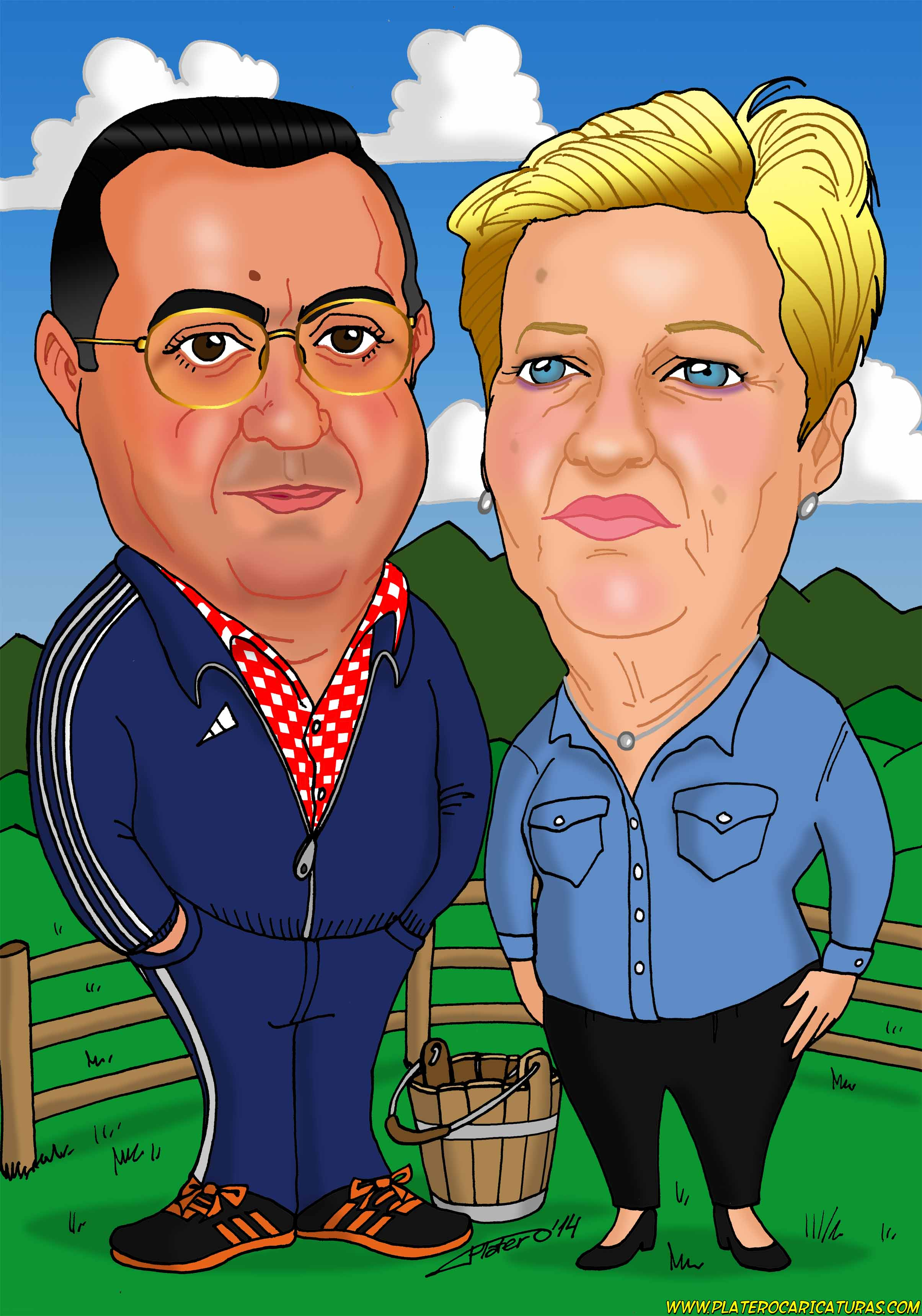 caricaturas a color por encargo personalizadas_abuelos Asturias_platerocaricatur