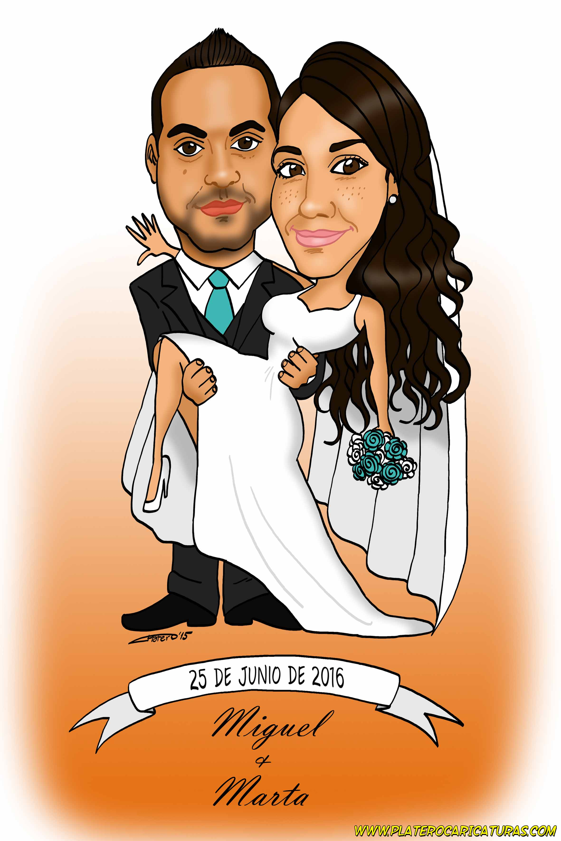 caricaturas_a_color_por_encargo_personalizadas_pareja_de_novios_tarjeta_boda_platerocaricaturas_elmu