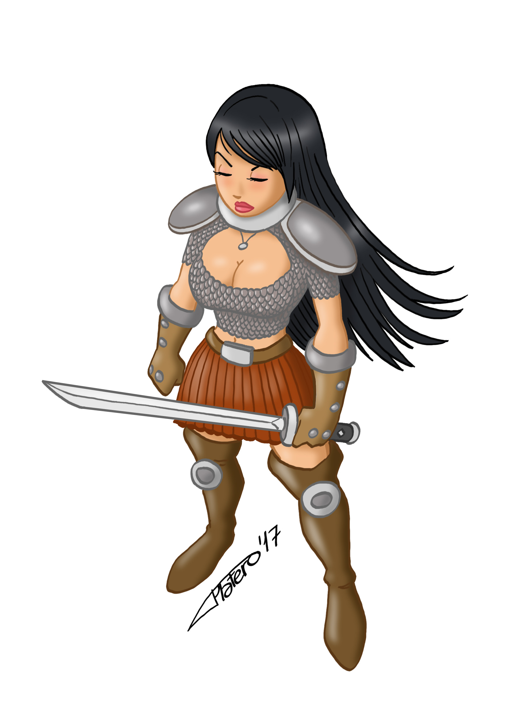 guerrera_samurai_ninja_jose_luis_platero_boceto_sketch_fantasía