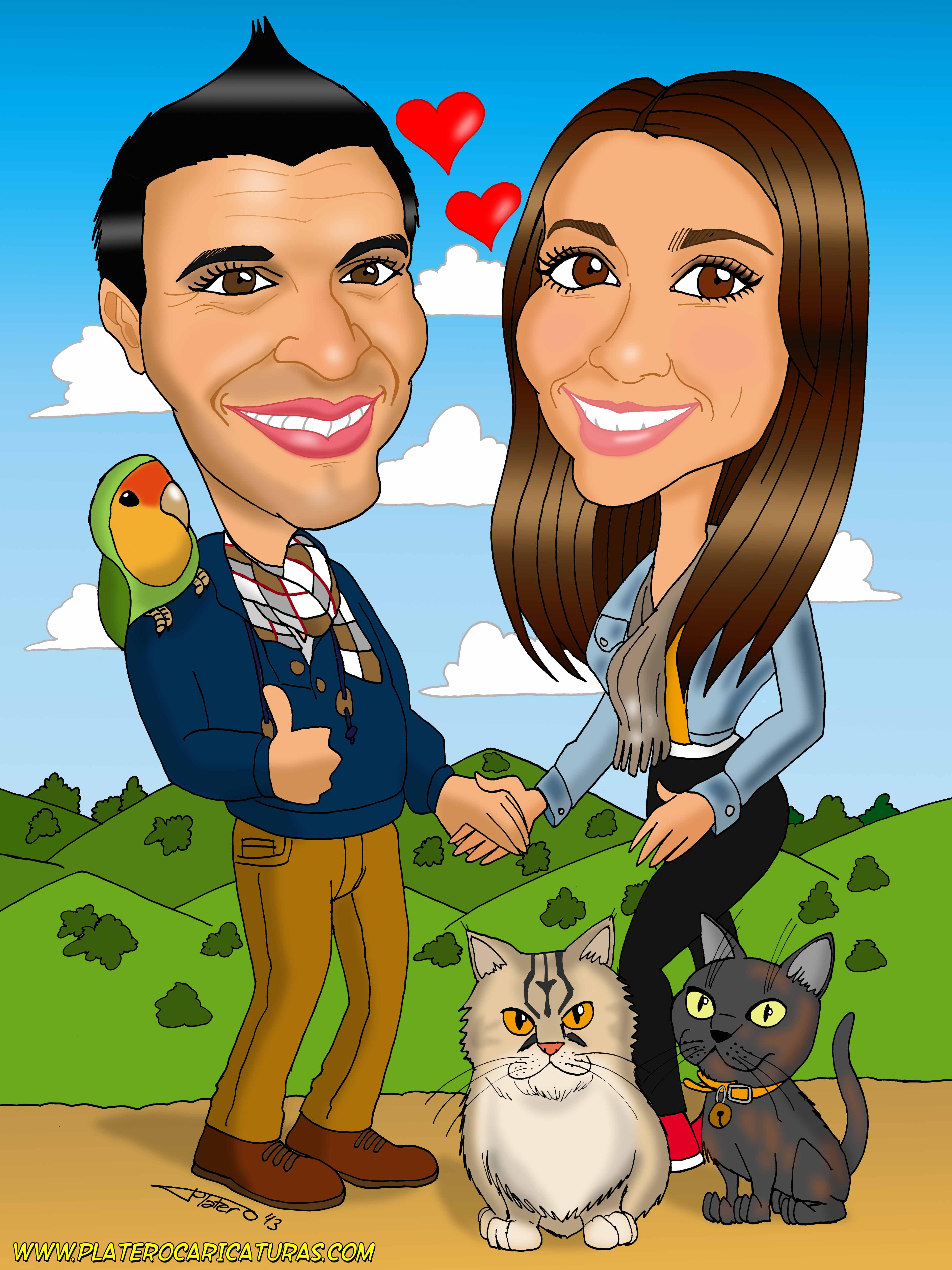caricaturas a color por encargo personalizadas_novios con animales_platerocarica