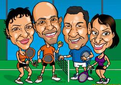 caricaturas a color por encargo personalizadas_equipo padel_elmundodeplatero_jos