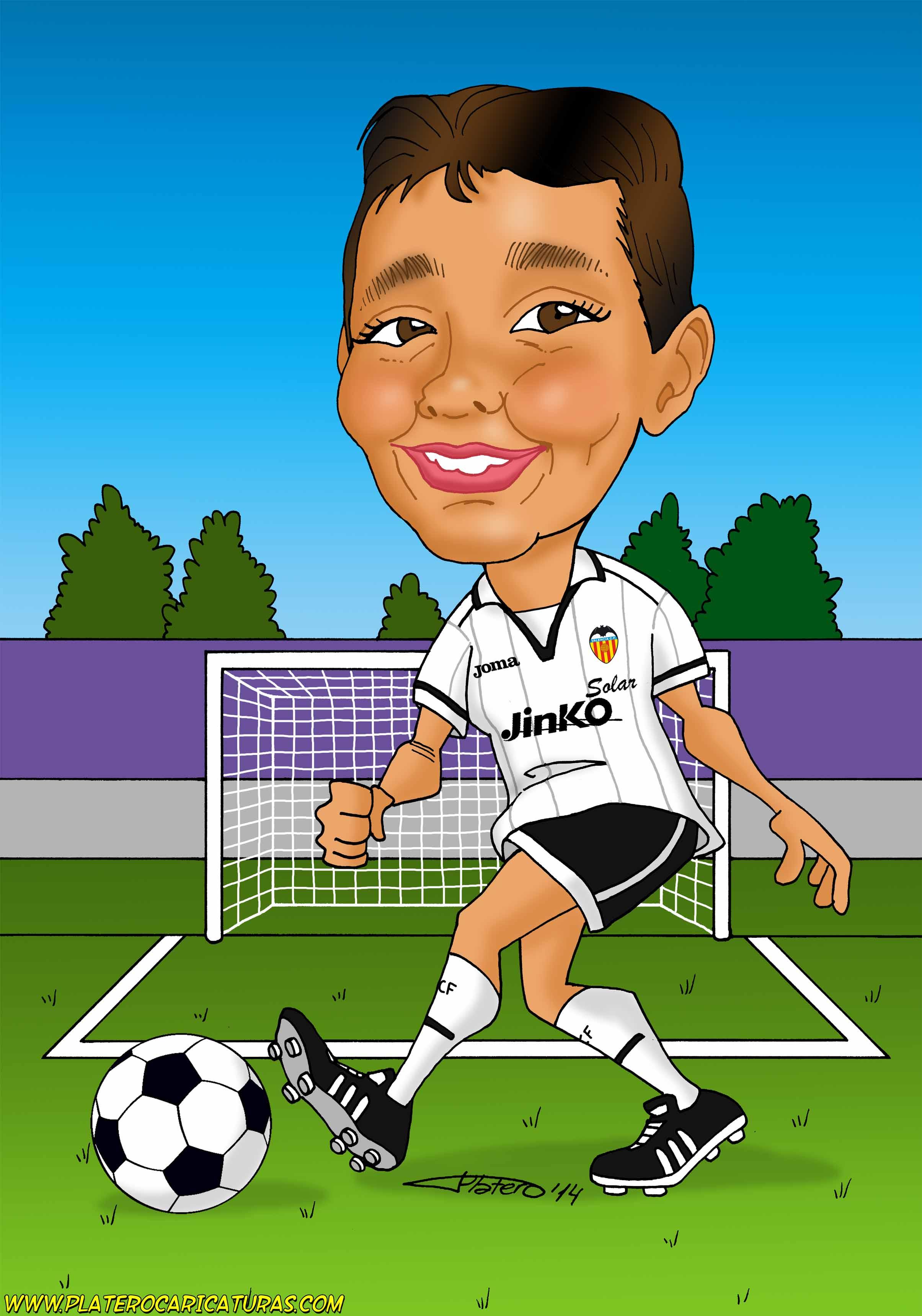 caricaturas a color por encargo personalizadas-chico futbolista Valencia-platero