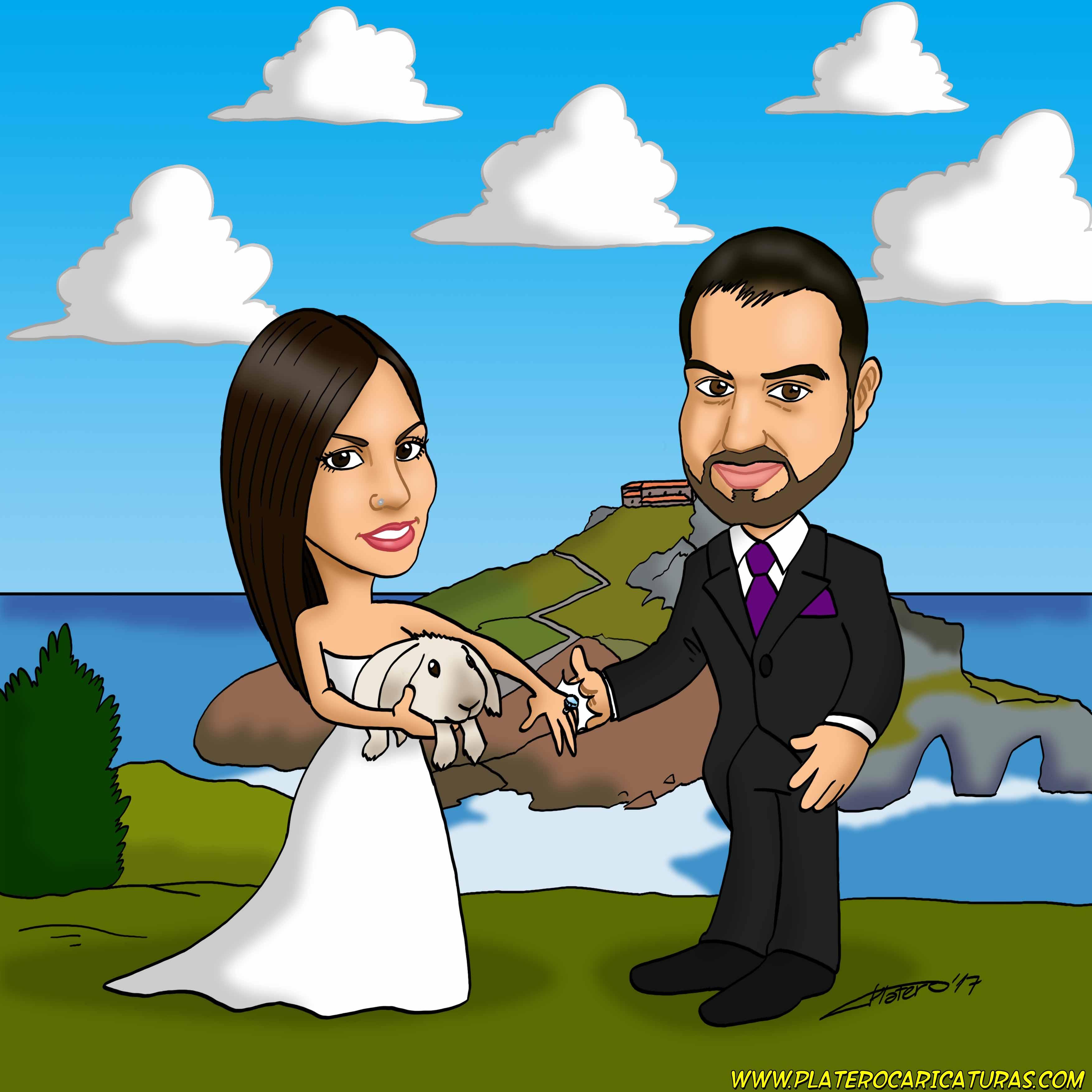 caricaturas_por_encargo_novios_boda_pareja con conejo_platerocaricaturas