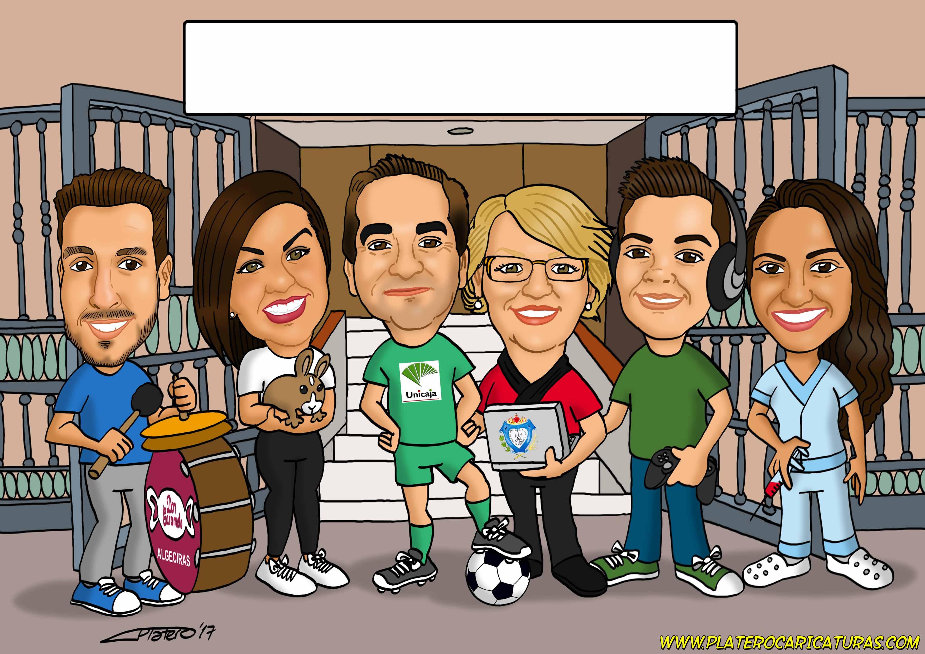 familia_caricatura_por_encargo_caricaturas_platerocaricaturas