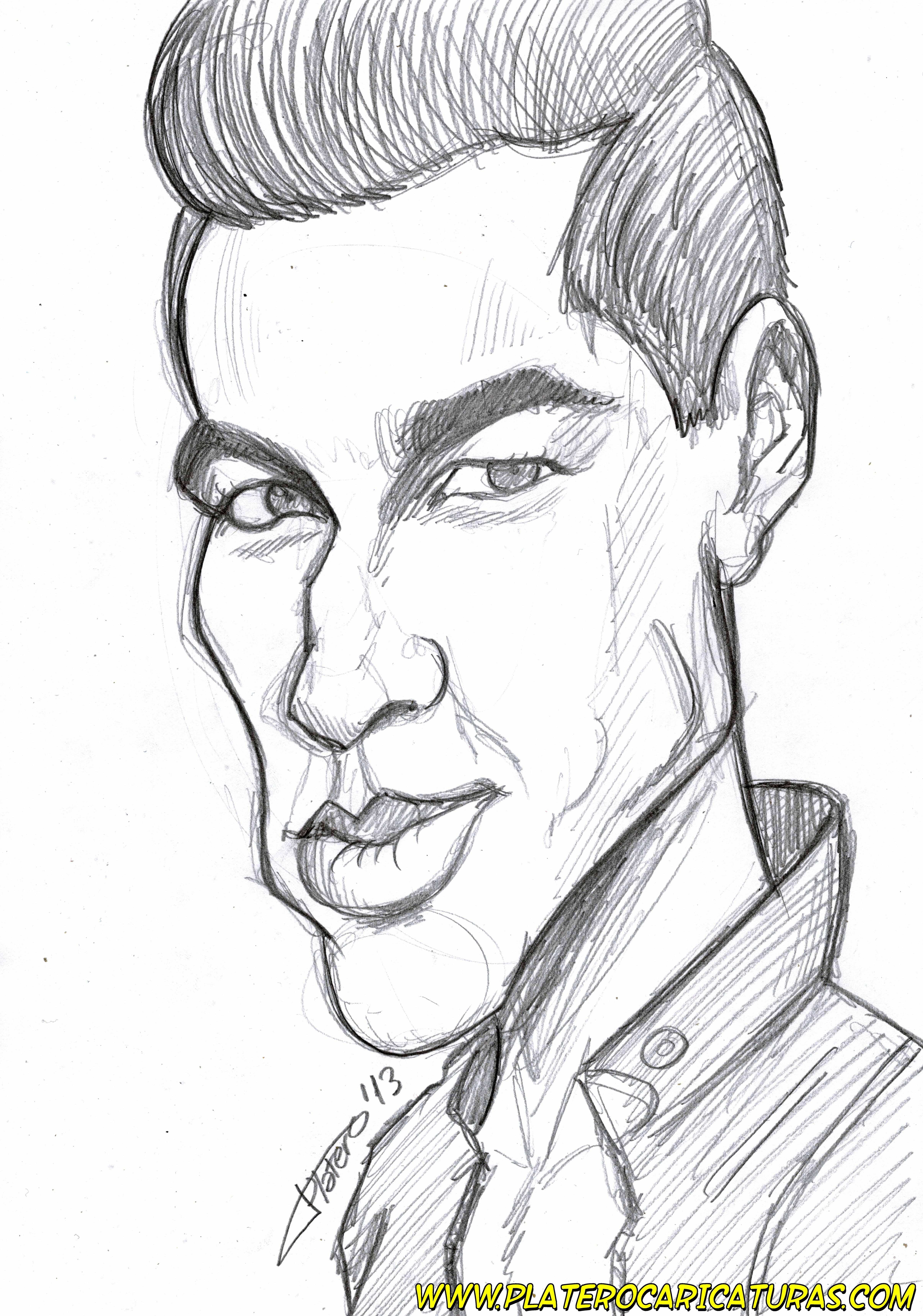 Caricatura a lápiz Mario Casas_platerocaricaturas_José Luis Platero dibujante ca