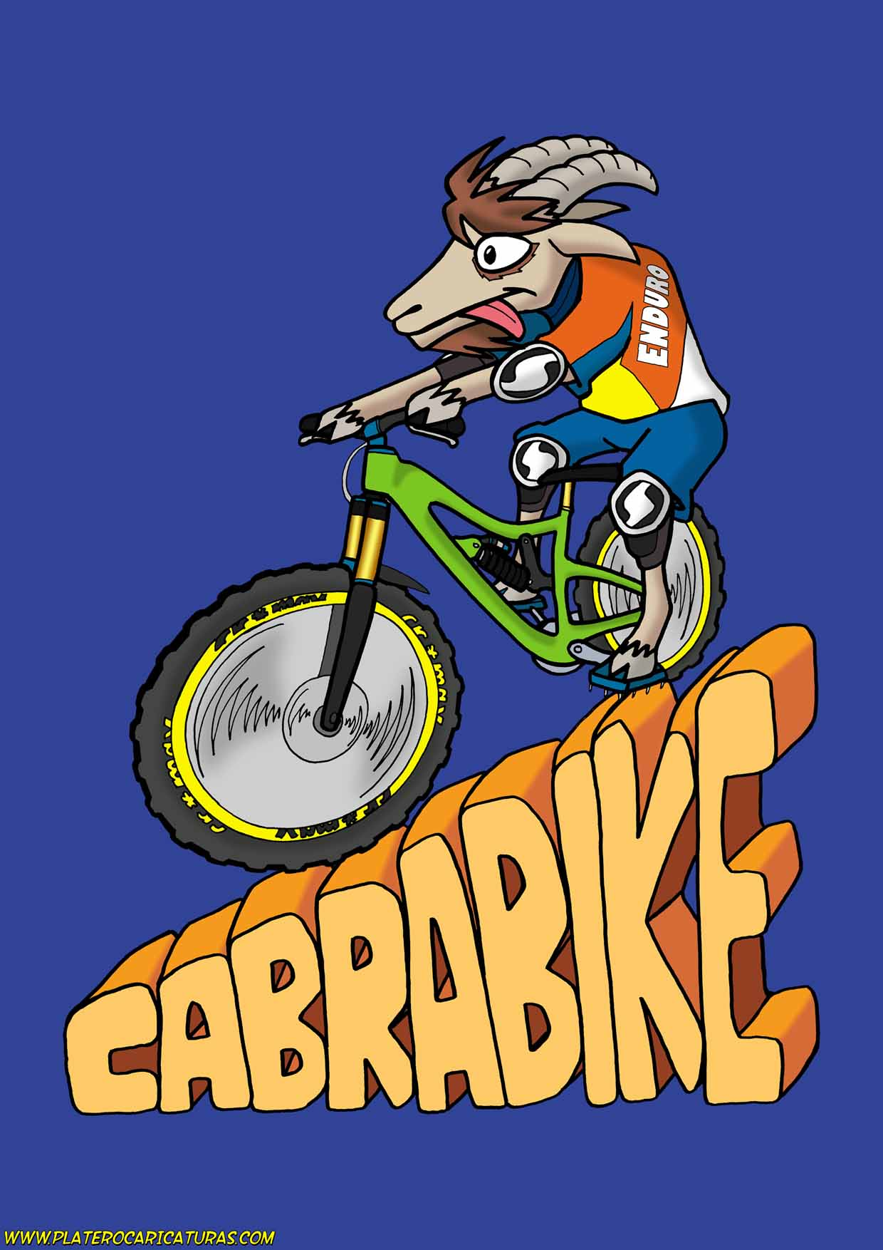 caricaturas a color por encargo personalizadas_logotipo mountain bike__plateroca